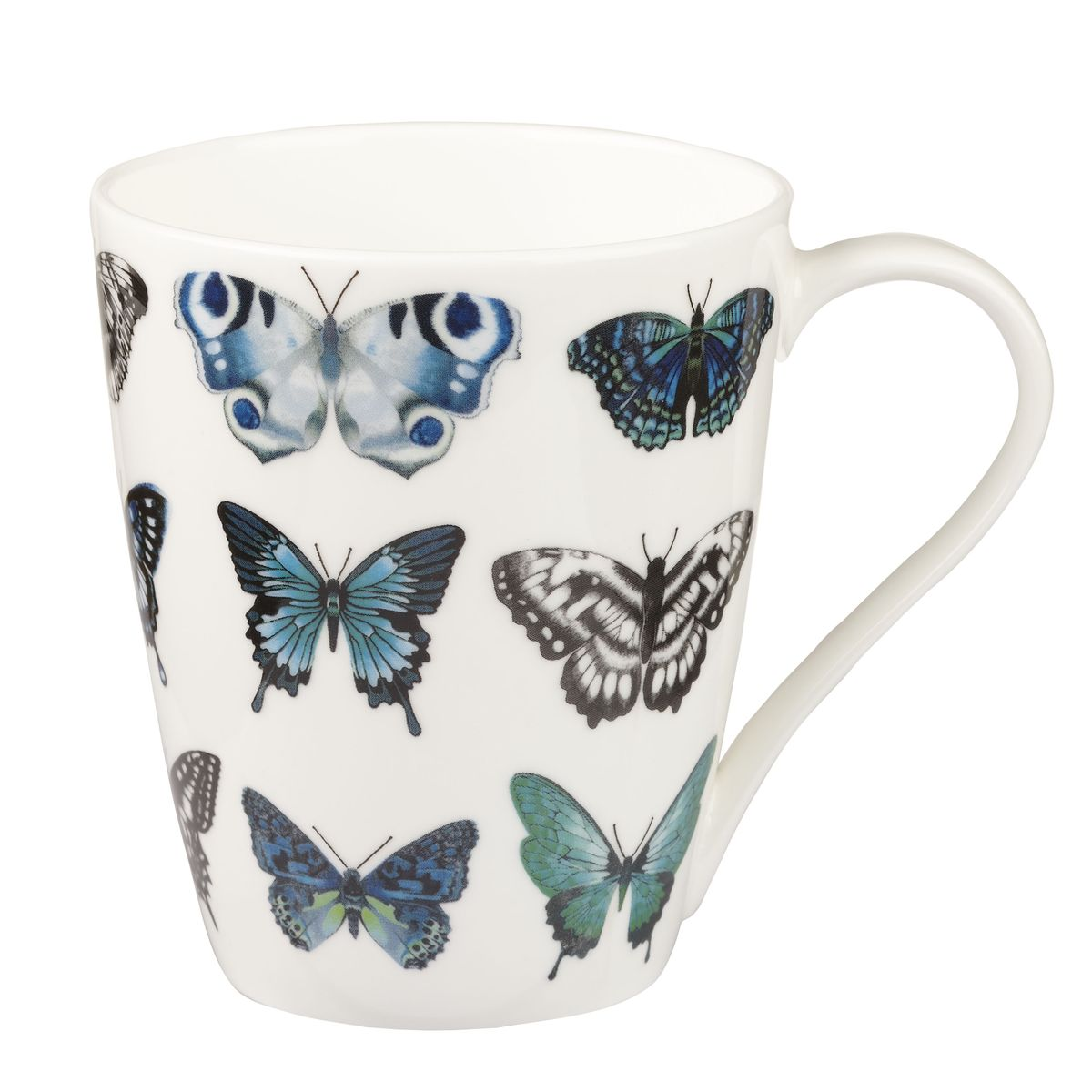 Кружка Churchill Бабочки, цвет: белый, синий, серый, 425 млHARL00161Кружка Churchill Бабочки изготовлена из высококачественного костяного фарфора. Внешние стенки дополнены красочным изображением бабочек. Такая кружка отлично подойдет для горячих и холодных напитков. С ней ваши любимые напитки будут еще вкусней. Коллекция Арлекин красиво упакована в подарочные коробки. Можно мыть в посудомоечной машине. Можно использовать в микроволновой печи.