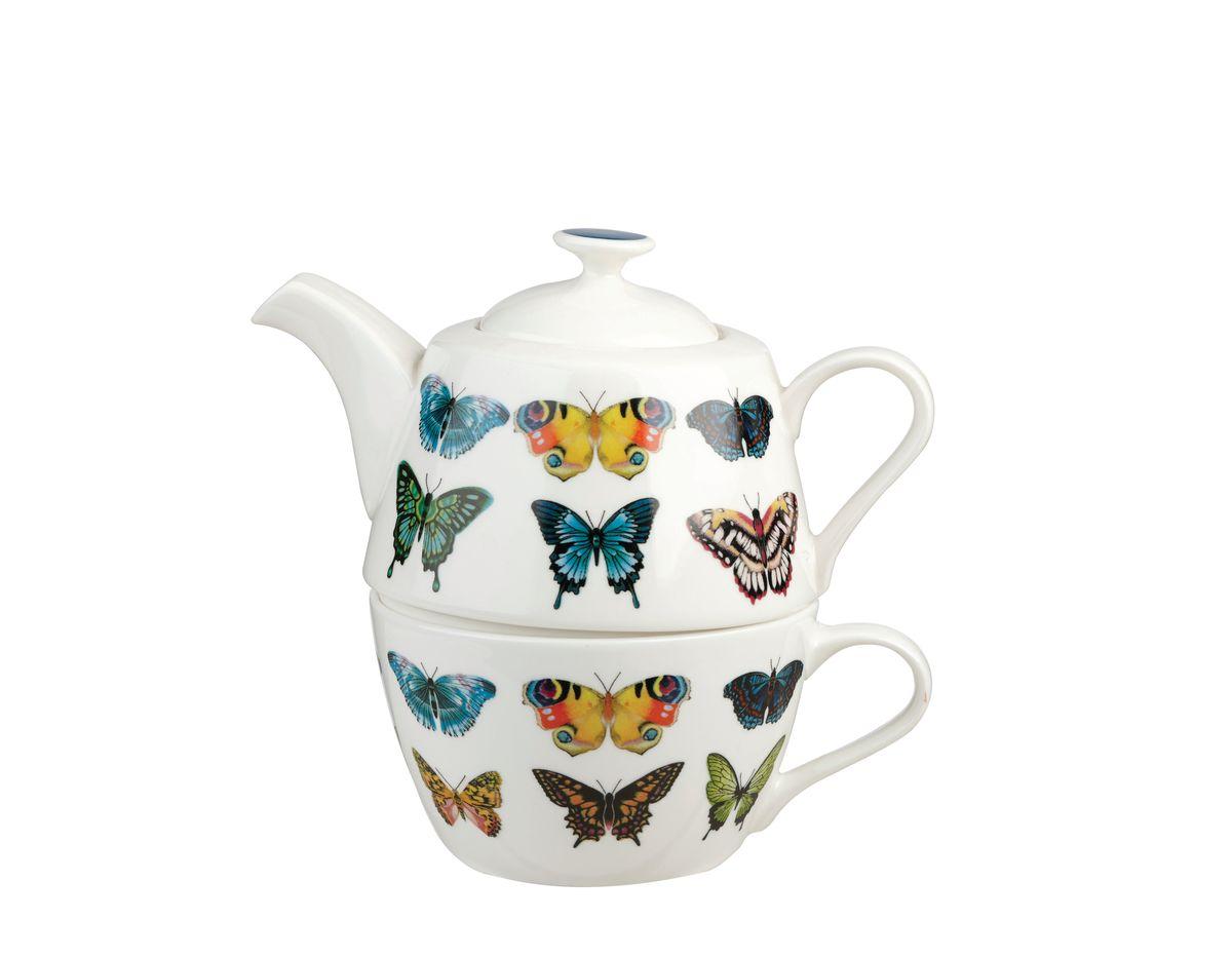 Набор чайный Churchill Бабочки, 2 предмета. HARL00311HARL00311Набор чайный Churchill Бабочки включает в себя чашку и заварочный чайник. Изделия выполнены из высококачественного костяного фарфора и оформлены красочным изображением бабочек.Коллекция Арлекин красиво упакована в подарочные коробки. При изготовлении данной коллекции используют лучший костяной фарфор. Можно мыть в посудомоечной машине.