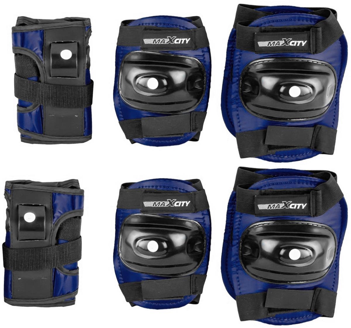Защита роликовая MaxCity Standard, цвет: синий, черный. Размер SZ90 blackЗащита роликовая MaxCity Standard как нельзя лучше подойдет вашему ребенку. Защита предназначена для комфортного и безопасного катания на роликовых коньках. Состоит из налокотников, наколенников и защиты запястий. Каждый из этих элементов выполнен из качественных материалов, жестких снаружи и эластичных внутри. Двухкомпонентная система с внутренними вставками из этилвинилацетата поглощает энергию удара, снимает нагрузку с суставов и, таким образом, снижает риск получения травмы. Отличная подгонка достигается за счет анатомической формы и использования эластичных материалов. Защита комфортна при ношении, так как материал принимает форму руки или ноги. Размер наколенников: 14,5 х 11,5 х 2,5 см. Размер налокотников: 13 х 11 х 2 см. Размер защиты запястья: 13,5 х 7,5 х 5 см.