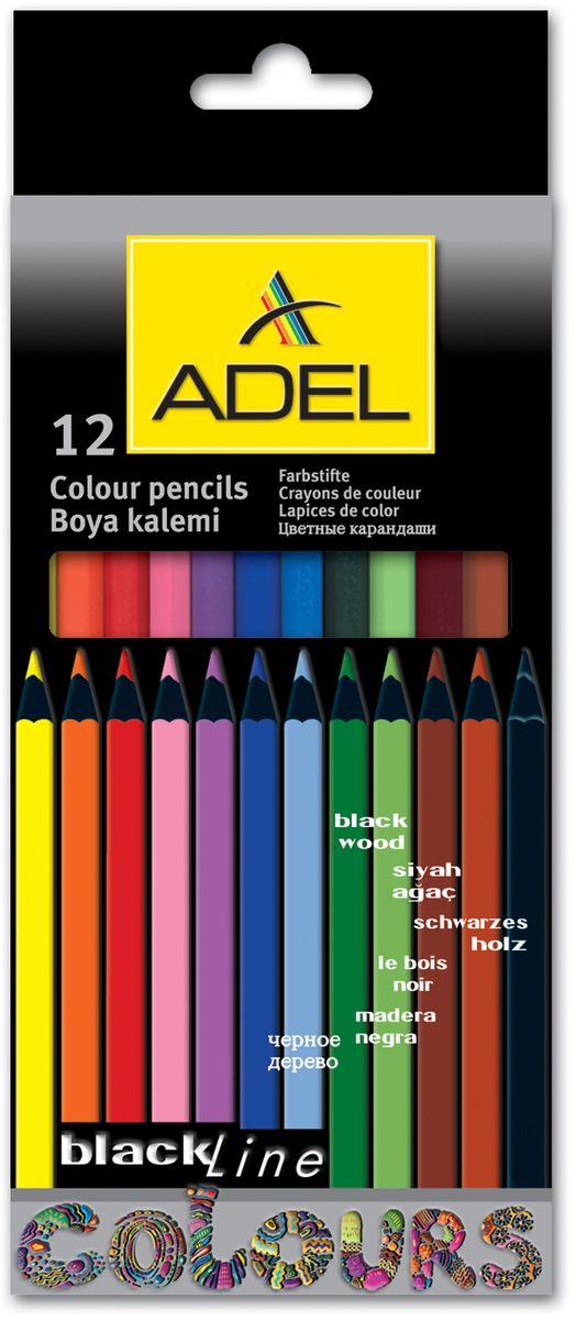 Adel Набор цветных карандашей Blackline 12 цветовC13S041944Набор цветных карандашей Adel Blackline - великолепный инструмент для творческой самореализации ребенка. Широкая цветовая палитра создает наилучшие условия для воплощения фантазии и вдохновения вашего маленького художника.Оправа из специального черного дерева облегчает затачивание карандаша, а качественный грифель диаметром 3 мм позволяет выбирать оптимальный уровень заточки в соответствии со своими потребностями и художественным стилем.