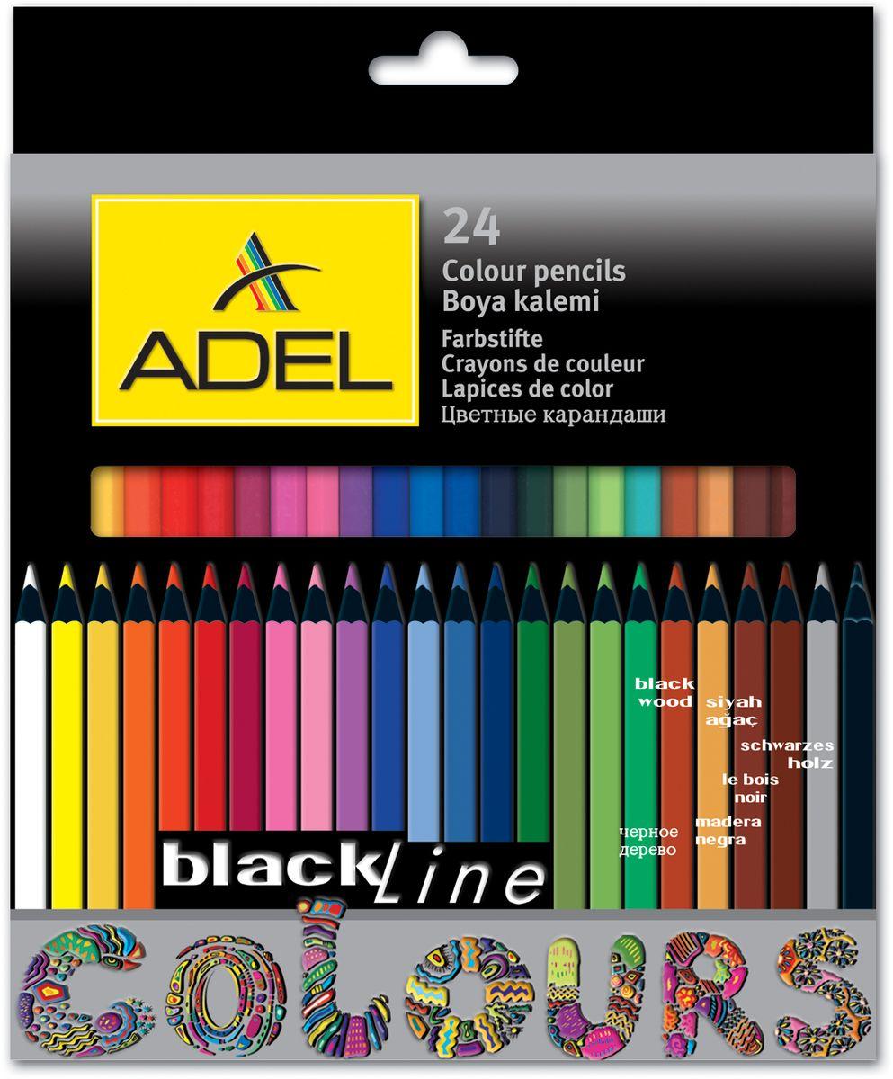 Adel Набор цветных карандашей Blackline PB 24 шт 211-2362-00072523WDЦветные карандаши Adel Blackline PB созданы специально для маленькой детской руки. Специальная технология проклейки карандаша предотвращает повреждение грифеля при падении. Набор состоит из 24 легко затачиваемых карандашей ярких цветов.Не рекомендуется детям до 3-х лет.