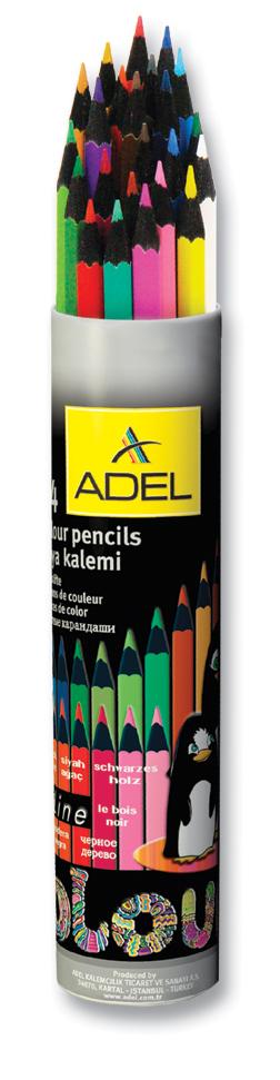 Adel Набор цветных карандашей Blackline PB 24 цвета 211-2362-003119006Набор цветных карандашей Adel Blackline - великолепный инструмент для творческой самореализации ребенка. Широкая цветовая палитра создает наилучшие условия для воплощения фантазии и вдохновения вашего маленького художника. Оправа из специального черного дерева облегчает затачивание карандаша, а качественный грифель диаметром 3 мм позволяет выбирать оптимальный уровень заточки в соответствии со своими потребностями и художественным стилем.Компактный алюминиевый тубус с плотно закрывающейся крышкой гарантирует удобство и аккуратность при хранении и транспортировке.