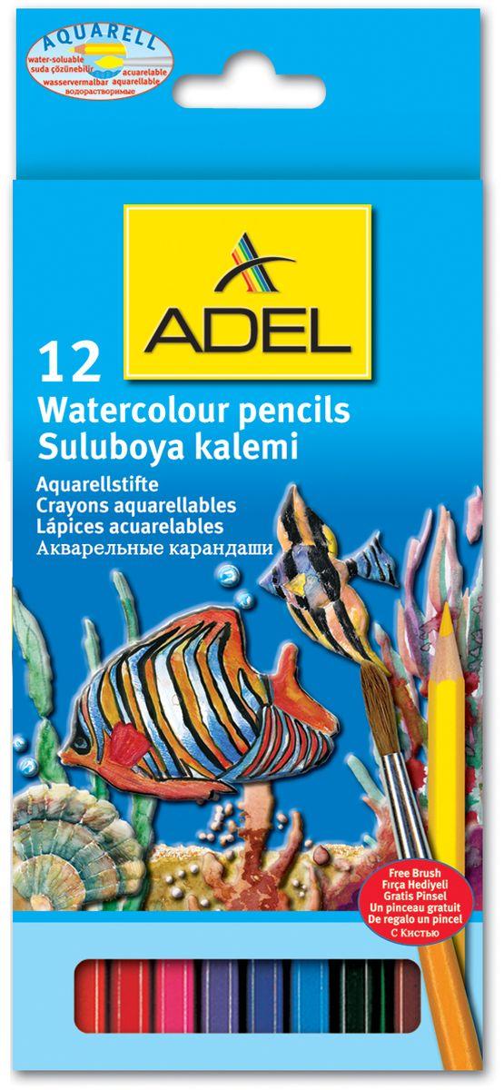 Adel Набор цветных карандашей Aquacolor с кисточкой 12 цветов730396Набор цветных карандашей Adel Aquacolor обязательно понравятся вашему юному художнику. Набор включает в себя 12 карандашей с шестигранным корпусом. Рисунок, сделанный этими карандашами растворяется водой, создавая впечатление сложной акварельной техники.Такой набор карандашей откроет юным художникам новые горизонты для творчества, поможет отлично развить мелкую моторику рук, цветовое восприятие, фантазию и воображение.Для детей от 5 лет.