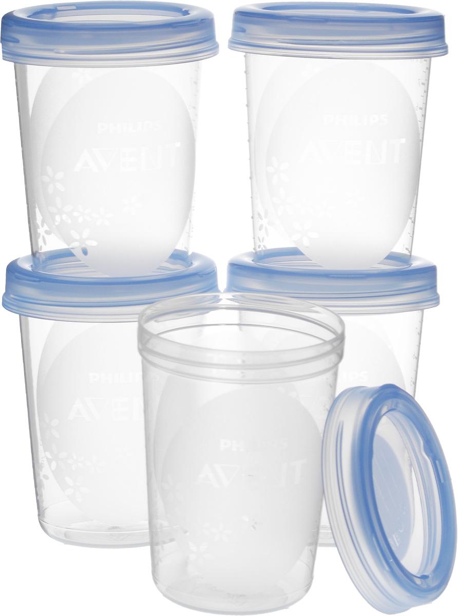 """Контейнеры для детского питания и хранения """"Philips Avent"""" универсальны, просты в использовании и """"растут"""" вместе с вашим ребенком. Контейнеры идеально подходят для хранения продуктов, как дома, так и в поездках. Они оснащены герметичными крышками. Можно использовать в холодильнике, морозильной камере, разогревать в микроволновой печи и использовать в подогревателе бутылочек. Набор включает 5 контейнеров объемом по 240 мл. На контейнерах и крышках можно писать даты, когда продукт был упакован. Изделия не содержат бисфенол А."""