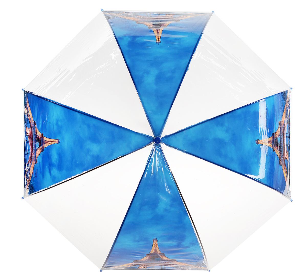 Зонт Kawaii Factory Paris Night, цвет: прозрачный, синий. KW042-000163REM12-GREYСтильный прозрачный зонт-трость Paris Night от Kawaii Factory станет вам бесценным помощником в любую непогоду. Этому аксессуару не страшен ни проливной дождь, ни сильный ветер. Его главные преимущества - большой купол и прочная конструкция. Зонт состоит из стержня и 8 спиц, изготовленных из металла. Купол изготовлен из качественного ПВХ, который надежно защитит вас от дождя. Зонт дополнен удобной ручкой из пластика, которая выполнена в виде крючка. Также зонт имеет пластиковый наконечник, который устраняет попадание воды на стержень и уберегает зонт от повреждений.Изделие имеет полуавтоматический механизм сложения: купол открывается нажатием кнопки на ручке, а складывается вручную до характерного щелчка. Зонт закрывается хлястиком на кнопку.Яркий прозрачный зонт-трость Paris Night примечателен еще и стильным рисунком. На нем красуется известная всему миру парижская достопримечательность. С такой картиной затеряться в толпе просто невозможно.