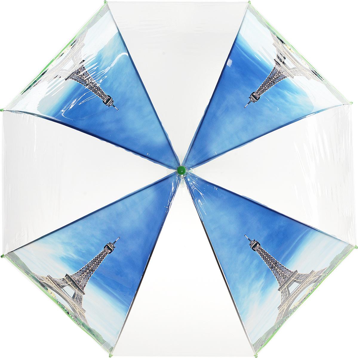 Зонт Kawaii Factory Paris Day, цвет: прозрачный, голубой, зеленый. KW042-000164CX1516-50-10Стильный прозрачный зонт-трость Paris Day от Kawaii Factory станет вам бесценным помощником в любую непогоду. Этому аксессуару не страшен ни проливной дождь, ни сильный ветер. Его главные преимущества - большой купол и прочная конструкция. Зонт состоит из стержня и 8 спиц, изготовленных из металла. Купол изготовлен из качественного ПВХ, который надежно защитит вас от дождя. Зонт дополнен удобной ручкой из пластика, которая выполнена в виде крючка. Также зонт имеет пластиковый наконечник, который устраняет попадание воды на стержень и уберегает зонт от повреждений.Изделие имеет полуавтоматический механизм сложения: купол открывается нажатием кнопки на ручке, а складывается вручную до характерного щелчка. Зонт закрывается хлястиком на кнопку.Яркий прозрачный зонт-трость Paris Day примечателен еще и стильным рисунком. На нем красуется известная всему миру парижская достопримечательность. С такой картиной затеряться в толпе просто невозможно.