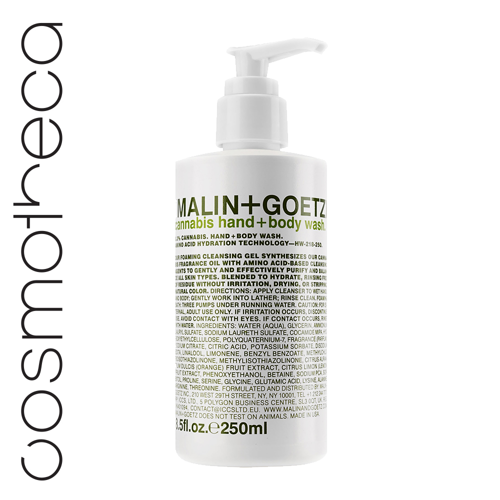Malin+Goetz Гель-мыло для душа и рук Каннабис 250 млMP59.3DУвлажняющая формула на основе аминокислот.Мягкий гель для мытья рук и тела бережно очищает кожу, оставляя тонкий аромат. Глицерин и комплекс аминокислот увлажняют и питают кожу.