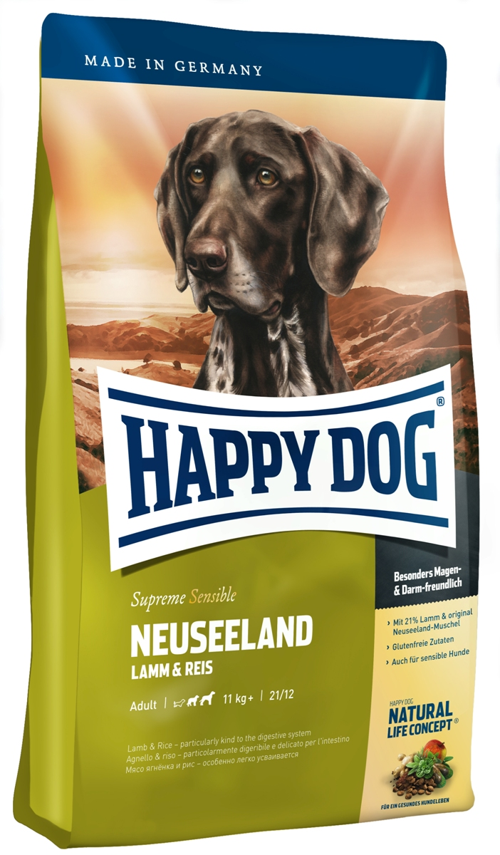 Корм сухой Happy Dog Новая Зеландия для собак средних и крупных пород, с ягненком и рисом, 1 кг12171996Корм сухой Happy Dog Новая Зеландия перебрасывает мост вкуса на противоположную сторону глобуса. Здесь, в условиях нетронутой чистой природы на лугах пасутся овцы, а море приносит дары, такие, как ценный зеленогубый моллюск - лишь один из ингредиентов высококачественного корма для собак. Новая Зеландия славится своей чистой природой, кристальной водой, мясом ягненка с низким содержанием холестерина и особым зеленогубым моллюском. В корме Happy Dog Новая Зеландия соединяет воедино 18% ягненка, 9% риса и экстракт зеленогубого моллюск.Состав: ягненок (21%), рисовая мука (21%), кукурузная мука, кукуруза, рис (9%), птичий жир, гидролизат печени, свекольная пульпа, масло из семян подсолнечника, яблочная пульпа (1%), рапсовое масло, сухое цельное яйцо, хлорид натрия, дрожжи, хлорид калия, морские водоросли (0,15%), семя льна (0,15%), мясо моллюска (0,05%), расторопша, артишок, одуванчик, имбирь, березовый лист, крапива, ромашка, кориандр, розмарин, шалфей, корень солодки, тимьян, дрожжи (экстрагированные), (общий объем трав: 0,14 %).Аналитический состав: сырой протеин 21%, сырой жир 12%, сырая клетчатка 3%, сырая зола 7,5%, кальций 1,6%, фосфор 1,05%, натрий 0,35%, Омега-6 жирные кислоты 2,8%, Омега-3 жирные кислоты 0,3%.Витамины/кг: витамин А 12000 М.E., витамин D3 1200 М.E., витамин Е 75 мг, витамин В1 4 мг, витамин В2 6 мг, витамин В6 4 мг, биотин 575 мкг, кальций D-пантотенат 10 мг, ниацин 40 мг, витамин В12 70 мкг, холинхлорид. Микроэлементы/кг: железо 60 мг, медь 110 мг, цинк 10 мг, марганец 135 мг, йод 25 мг, селен 2 мг.Товар сертифицирован.