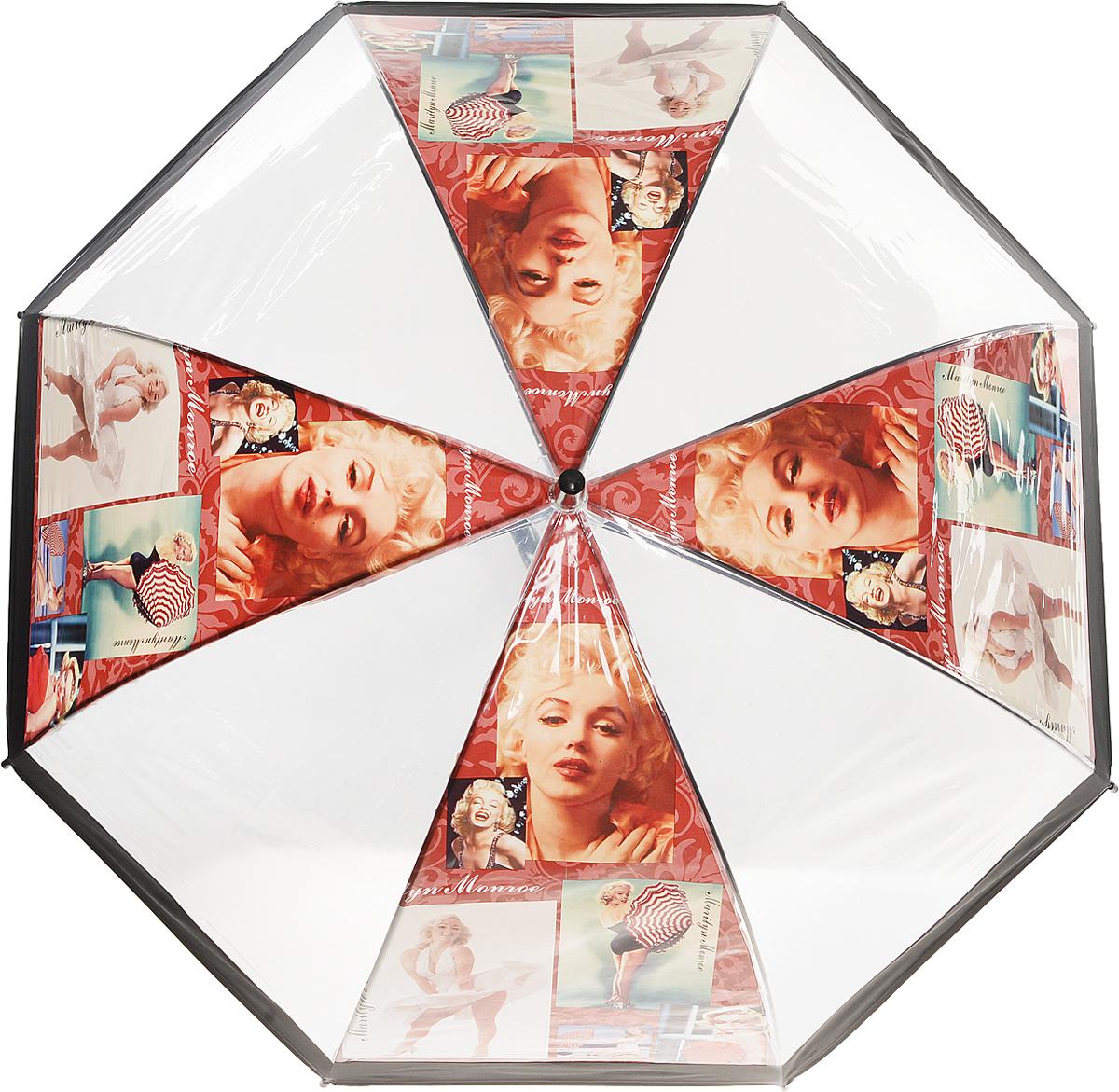 Зонт женский Kawaii Factory Vintage Marilyn, цвет: прозрачный. KW042-000165REM12-GREYЭлегантный прозрачный зонт-трость Vintage Marilyn от Kawaii Factory с изображением легендарной красавицы Мерлин Монро и глубоким куполом позволит вам выглядеть стильно в ненастную погоду. Зонт состоит из стержня и 8 спиц, изготовленных из металла. Купол изготовлен из качественного ПВХ, который надежно защитит вас от дождя. Зонт дополнен удобной ручкой из пластика, которая выполнена в виде крючка. Также зонт имеет пластиковый наконечник, который устраняет попадание воды на стержень и уберегает зонт от повреждений.Изделие имеет полуавтоматический механизм сложения: купол открывается нажатием кнопки на ручке, а складывается вручную до характерного щелчка. Зонт закрывается хлястиком на кнопку.Зонт Vintage Marilyn - лучшее украшение не только для яркой блондинки, жгучей брюнетке он также придется по вкусу. Каждая модница с таким аксессуаром будет привлекать восторженные взгляды окружающих.