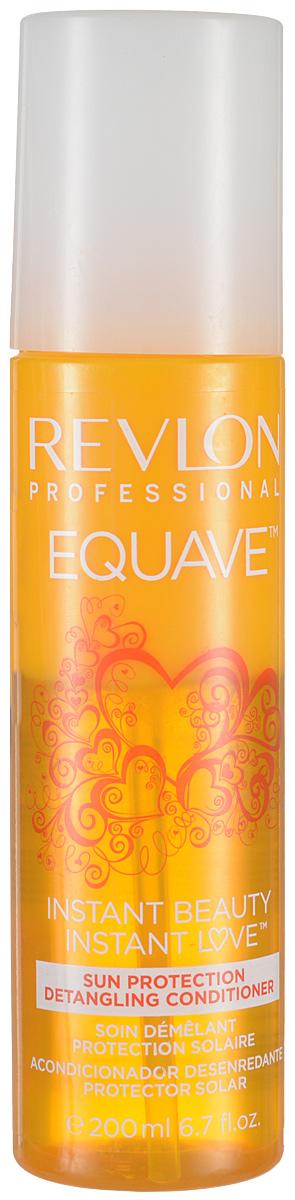 Revlon Professional Equave Несмываемый кондиционер мгновенного действия, облегчающий расчесывание Instant Beauty Sun Protection Detangling 200 млFS-00897Активное воздействие солнца, прямое попадание его палящих лучей, - эти факторы не только приводят к внешнему выцветанию и потускнению волос, но и постепенно разрушают их структуру. Радоваться лету, не волнуясь о своих волосах, вам поможет эффективное защитное средство - кондиционер для защиты от солнца от компании Revlon! Препарат отличается новым составом, обогащенным кератином. Продукт обладает широким спектром солнечных фильтров, которые гарантирует надежную защиту. Защищая волосы от разрушительного влияния ультрафиолетовых лучей, кондиционер действует мгновенно. Он также способствует легкому расчесыванию благодаря «распутывающему» эффекту. Кондиционер восстанавливает и увлажняет волосы по всей длине.