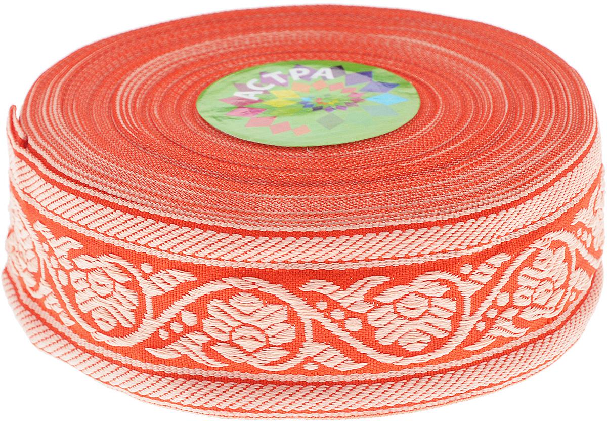 Тесьма декоративная Астра, цвет: красный, ширина 3,5 см, длина 16,4 м. 7703348RSP-202SДекоративная тесьма Астра выполнена из текстиля и оформлена оригинальным орнаментом. Такая тесьма идеально подойдет для оформления различных творческих работ таких, как скрапбукинг, аппликация, декор коробок и открыток и многое другое. Тесьма наивысшего качества и практична в использовании. Она станет незаменимым элементом в создании рукотворного шедевра. Ширина: 3,5 см.Длина: 16,4 м.