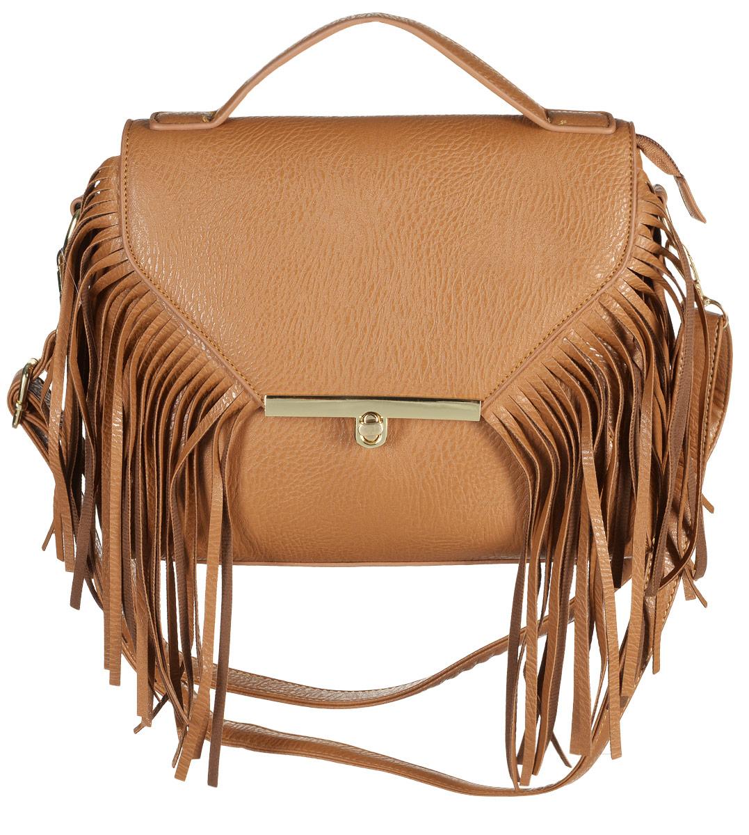 Сумка женская Kawaii Factory Бахрома, цвет: светло-коричневый, KW100-00011271069с-2Оригинальная сумка Бахрома от Kawaii Factoryстильно сочетается с одеждой из различных материалов - хлопка, шерсти, трикотажа, кружева и множества других. Эта сумочка с длинной бахромой сделана из искусственной качественной кожи и имеет две ручки - короткую и отстегивающуюся длинную с возможностью регулировки длины.Внутренний объем позволяет вместить в аксессуар все необходимое. Модель имеет одно основное отделение, закрывающееся на замок-вертушку. Внутри имеется прорезной кармашек на застежке-молнии и два накладных кармана для телефона и мелочей.С этой сумочкой вы сможете сделать свой образ неординарным и эффектным.