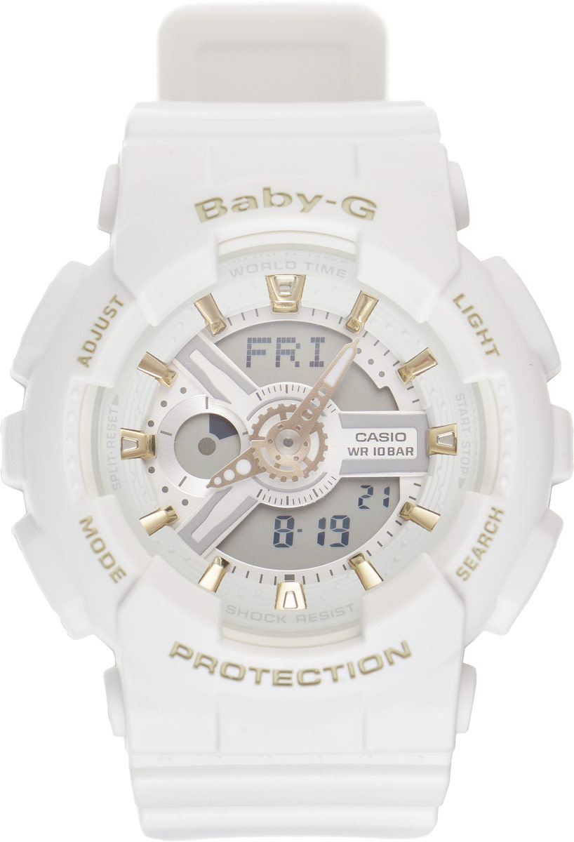 Часы наручные женские Casio G-Shock, цвет: белый. BA-110GA-7A1BM8434-58AEСтильные часы Baby-G сочетают в себе ультрамодные цвета с приглушенным матовым покрытием. Золотистые металлические детали, используемые для меток и часовых элементов, выступают привлекательными акцентами. Часы будут пользоваться популярностью среди девушек, ведущих активный образ жизни. Ударопрочная конструкция защищает механизм от ударов и вибрации. Корпус выполнен из высококачественного пластика и оснащен минеральным стеклом, устойчивым к возникновению царапин. Резиновый ремешок имеет надежную классическую застежку. Циферблат подсвечивается светодиодом, а умная функция задержки отключения освещает циферблат еще несколько секунд после отпускания кнопки освещения. Помимо этого стоит отметить еще люминесцентный состав на стрелках и между часовых меток с ярким послесвечением даже после кратковременного воздействия света. Часы имеют будильник с функцией повтора сигнала (Snooze). Среди удобных функций также имеется секундомер с точностью показаний 1/100 с и временем измерения 24 ч, таймер обратного отсчета от 1мин до 24ч и 12-ти и 24-х часовой формат времени. Часы G-Shock продвинуты не только своими функциями и технологиями, но и своим уникальным дизайном. Модель выделяетсяизысканным дизайном, сочетая в себе привычный спортивный стиль и одновременно классический. Поэтому часы G-Shock - это еще и модный аксессуар, который можно носить, как повседневно, так и по особым случаям.