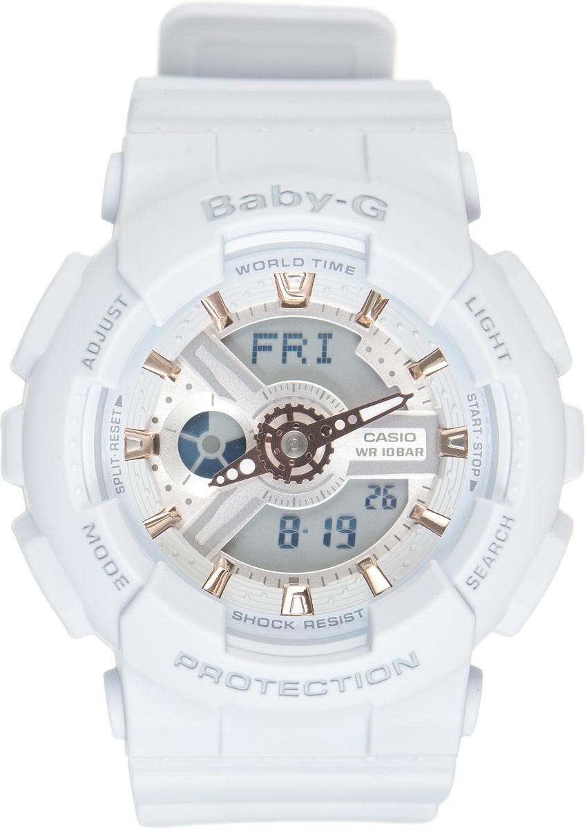 Часы наручные женские Casio G-Shock, цвет: нежно-голубой. BA-110GA-8ABM8434-58AEСтильные часы Casio G-Shock сочетают в себе ультрамодные цвета с приглушенным матовым покрытием. Золотистые металлические детали, используемые для меток и часовых элементов, выступают привлекательными акцентами. Часы будут пользоваться популярностью среди девушек, ведущих активный образ жизни. Ударопрочная конструкция защищает механизм от ударов и вибрации. Корпус выполнен из высококачественного пластика и оснащен минеральным стеклом, устойчивым к возникновению царапин. Резиновый ремешок имеет надежную классическую застежку. Изделие оснащено кварцевым механизмом с двойной цифро-аналоговой индикацией. Имеет степень водозащиты равную 100WR, что отлично подходит для плавания и ныряния. Циферблат подсвечивается светодиодом, а умная функция задержки отключения освещает циферблат еще несколько секунд после отпускания кнопки освещения. Помимо этого стоит отметить еще люминесцентный состав на стрелках и между часовых меток с ярким послесвечением даже после кратковременного воздействия света. Часы имеют будильник с функцией повтора сигнала (Snooze). Среди удобных функций также имеется секундомер с точностью показаний 1/100 с и временем измерения 24 ч, таймер обратного отсчета от 1мин до 24ч и 12-ти и 24-х часовой формат времени. Часы G-Shock продвинуты не только своими функциями и технологиями, но и своим уникальным дизайном. Модель выделяетсяизысканным дизайном, сочетая в себе привычный спортивный стиль и одновременно классический. Поэтому часы G-Shock - это еще и модный аксессуар, который можно носить, как повседневно, так и по особым случаям.