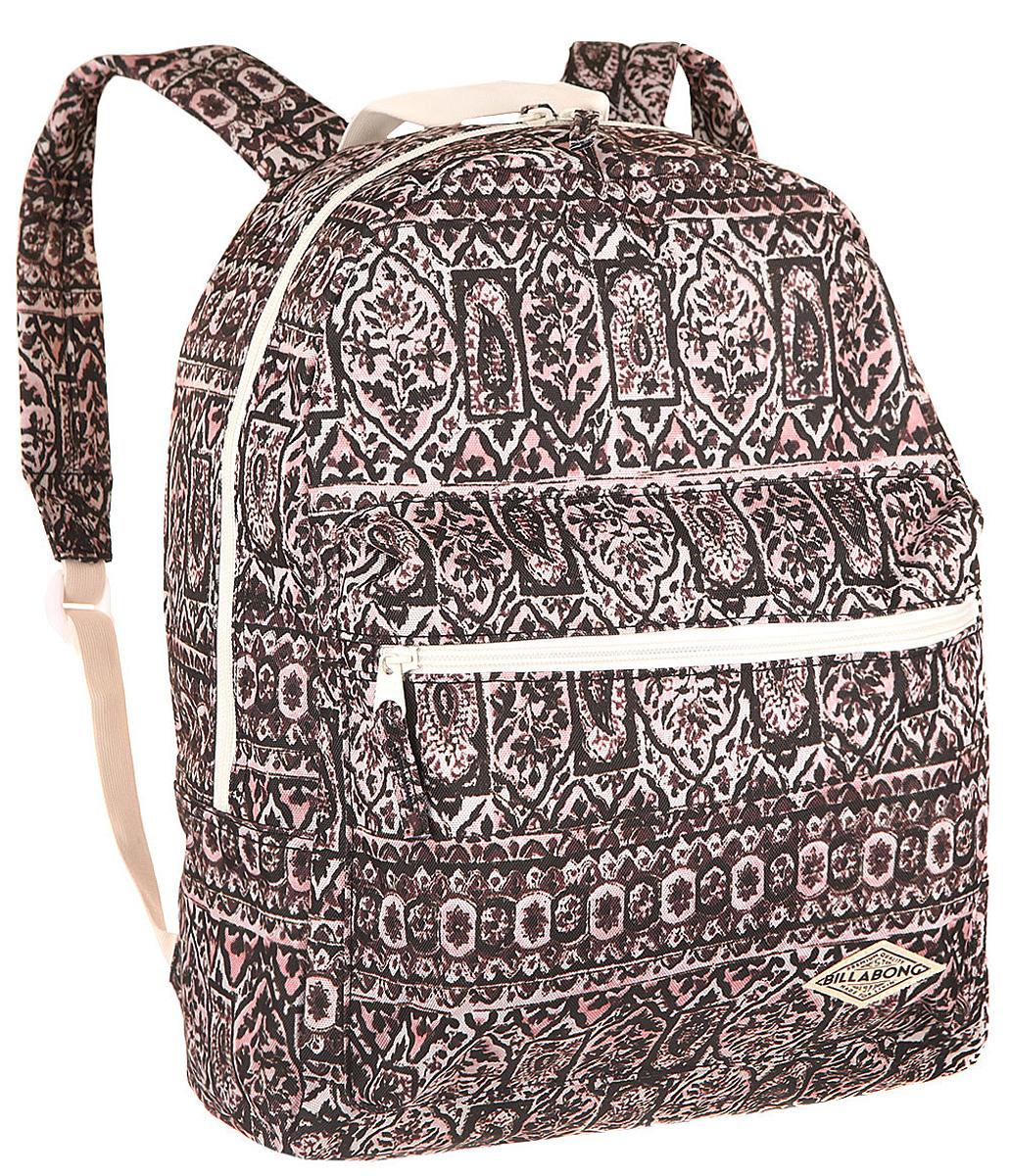 Рюкзак городской Billabong Breezy Shorez, цвет: темно-вишневый , 18 л1125040Стильный рюкзак Billabong с абстрактным принтом составит Вам отличную компанию для перемещений по городу. Внутри рюкзака есть такое актуальное в наши дни отделение для ноутбука или планшета, а снаружи предусмотрен небольшой карман на молнии для мелочей
