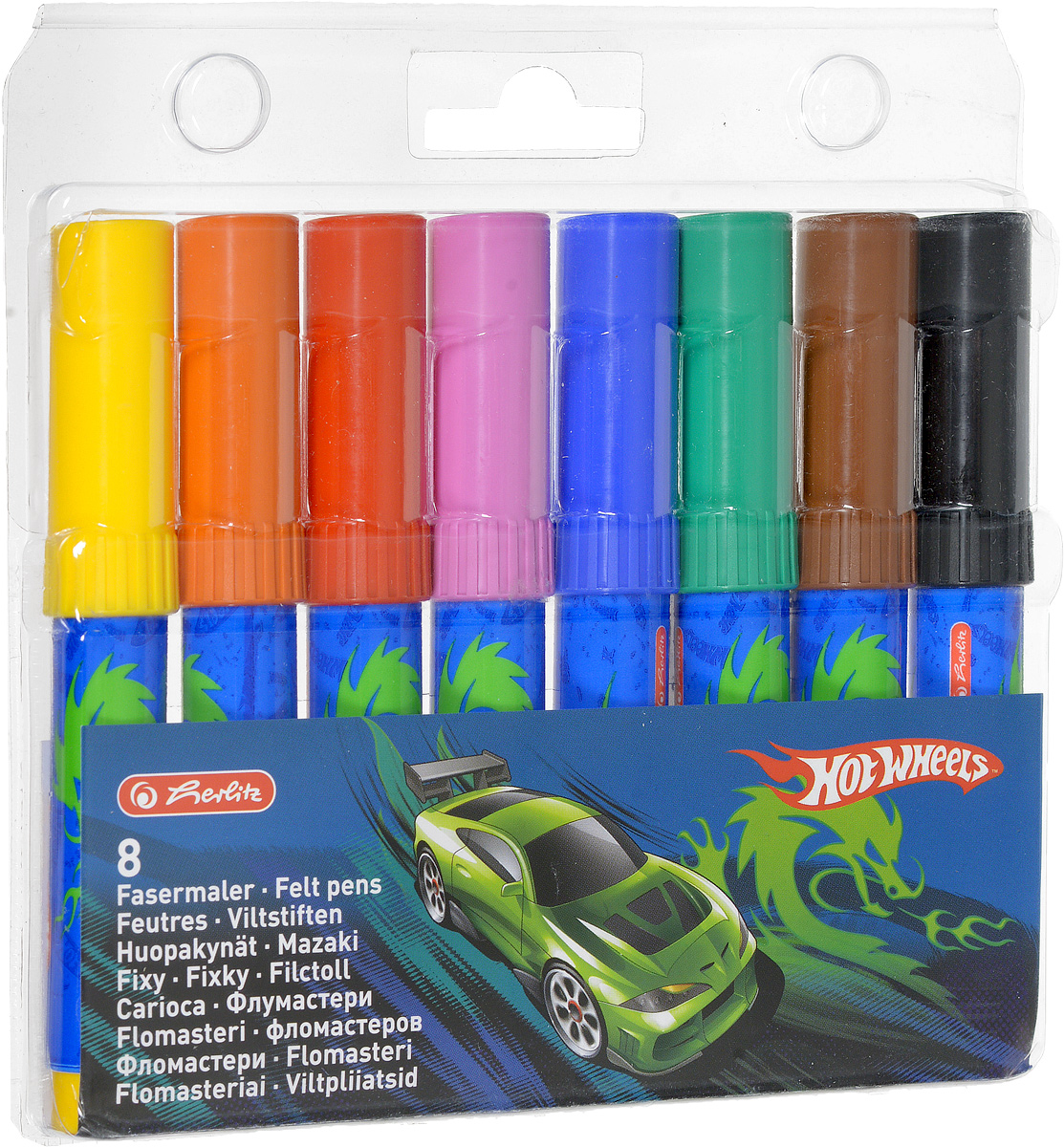 Herlitz Набор фломастеров Hot Wheels 8 цветов72523WDНабор фломастеров Herlitz  Hot Wheels- это 8 фломастеров ярких насыщенных цветов.Фломастеры оснащены вентилируемым колпачком, а корпус изготовлен из прочного пластика. Фломастеры устойчивы к вдавливанию и имеют цилиндрический пишущий узел.Когда ваш юный художник будет рисовать, то можете не беспокоиться, чернила этих фломастеров совершенно безопасны для здоровья вашего малыша. Набор фломастеров от Herlitz обязательно порадует не только вашего малыша, но и вас.Рекомендуемый возраст от трех лет.