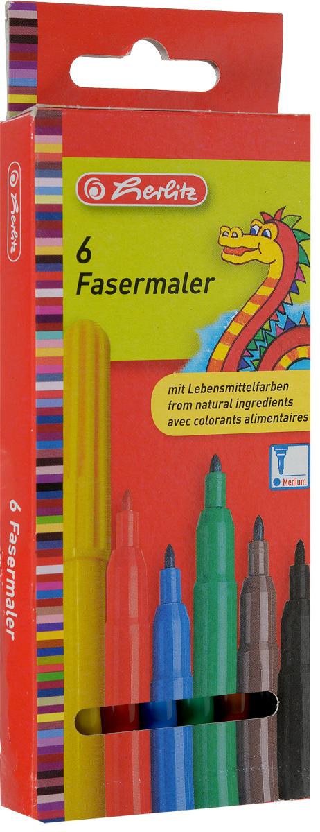 Herlitz Набор фломастеров Fasermaler 6 цветовMAWT100Набор фломастеров Herlitz Fasermaler - это 6 цветных фломастеров, которые оснащены вентилируемым колпачком, а корпус изготовлен из прочного пластика.Фломастеры устойчивы к вдавливанию и имеют цилиндрический пишущий узел.Когда ваш юный художник будет рисовать, то можете не беспокоиться, чернила этих фломастеров совершенно безопасны для здоровья вашего малыша. Набор фломастеров от Herlitz обязательно порадует не только вашего малыша, но и вас.Рекомендуемый возраст от трех лет.