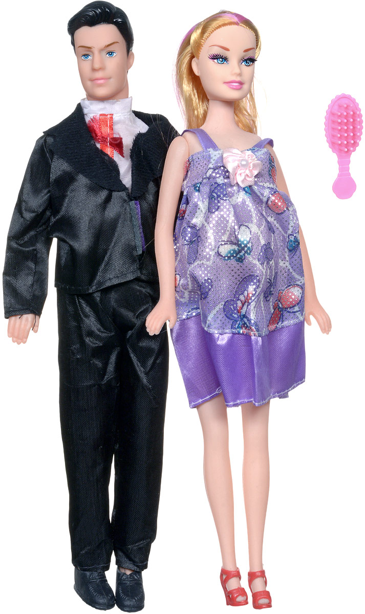 Shantou Набор кукол цвет одежды сиреневый черный 2 шт
