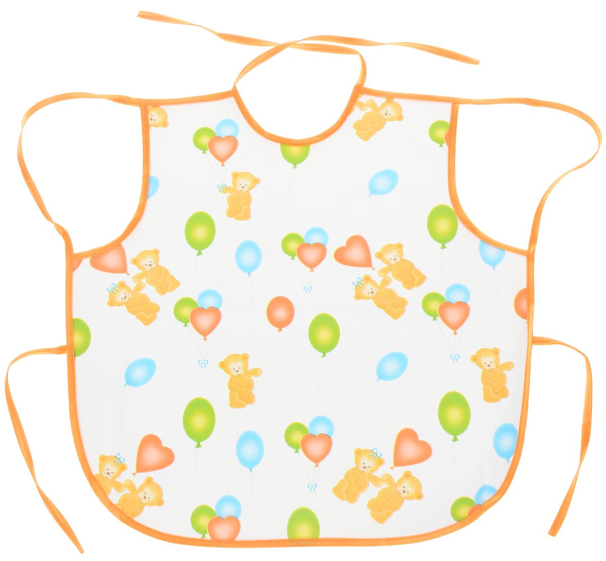 Колорит Фартук Мишки с шариками цвет белый оранжевый 36 х 38 см72523WDФартук Колорит Мишки с шариками изготовлен из клеенки подкладной с ПВХ покрытием.Предохраняет одежду малыша от загрязнений во время кормления. Фартук предназначен для многоразового использования, не промокает. Благодаря завязкам вы сможете легко контролировать длину изделия и регулировать размер горловины.Не оказывает вредного воздействия на организм ребенка.Не подлежит стерилизации паром. Не гладить. Не стирать.
