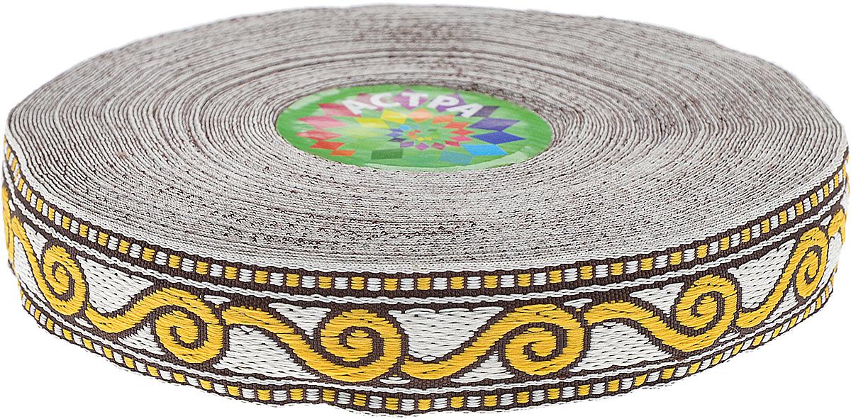 Тесьма декоративная Астра, цвет: желтый (3), ширина 2 см, длина 16,4 м. 77032711406-SB Пакет Сиреневые совыДекоративная тесьма Астра выполнена из текстиля и оформлена оригинальным орнаментом. Такая тесьма идеально подойдет для оформления различных творческих работ таких, как скрапбукинг, аппликация, декор коробок и открыток и многое другое. Тесьма наивысшего качества и практична в использовании. Она станет незаменимым элементом в создании рукотворного шедевра. Ширина: 2 см.Длина: 16,4 м.