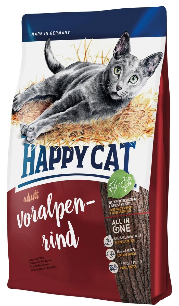 Корм сухой Happy Cat Adult для кошек с нормальной активностью, альпийская говядина, 1,4 кг0120710Happy Cat Adult полностью обеспечивает питомца, который любит погулять на улице, всеми необходимыми высококачественными веществами. В состав входят вкусная говядина и птица. Изысканная рецептура без рыбы была специально разработана под потребности свободно гуляющих кошек и активных домашних кошек, так как калорийность полностью соответствует их большой физической активности. Чуть увеличенный размер гранулы хорошо сказывается на зубах.Состав: мясопродукты (13% говядины), кукурузная мука, кукуруза, птица (13%), птичий жир, картофельные хлопья, рисовая мука, клетчатка, мясная мука (0,8% говядины), гемоглобин, свекольная пульпа, сухое цельное яйцо, хлорид натрия, дрожжи, яблочная пульпа (0,4%), хлорид калия, морские водоросли (0,2%), семя льна (0,2%), новозеландский моллюск (0,04%), корень цикория (0,04%), дрожжи (экстрагированные), расторопша, артишок, одуванчик, имбирь, березовый лист, крапива, ромашка, кориандр, розмарин, шалфей, корень солодки, тимьян (общий объем сухих трав: 0,17%).Аналитический состав: сырой протеин 32%, сырой жир 18%, сырая клетчатка 3,0%, сырая зола 6,0%, кальций 1,05%, фосфор 0,7%, натрий 0,45%, калий 0,65%, магний 0,07%, Омега - 6 жирные кислоты 2,8%, Омега - 3 жирные кислоты 0,3%.Витамин A (3а672а) 18000 МE, витамин D3 1800 МЕ, витамин E (альфа-токоферол 3a700) 100 мг, витамин B1 (тиаминмононитрат 3a821) 5 мг, витамин B2 (рибофлавин) 6 мг, витамин B6 (пиридоксингидрохлорид 3a831) 4 мг, D(+) биотин (3a880) 700 мкг, кальция-D-пантотенат 12 мг, ниацин 45 мг, витамин B12 75 мкг, холинхлорид 75 мг.Антиоксиданты: натуральные экстракты с высоким содержанием токоферола. Микроэлементы/кг: железо 120 мг (сульфат железа (II)), медь 12 мг (сульфат меди (II)), цинк 150 мг (оксид цинка), марганец 30 мг (оксид марганца (II)), йод 2,5 мг (йодат кальция 3b202 ), селен 0,2 мг (селенит натрия). Аминокислоты/кг: DL-метионин: 4600 мг, таурин (3a370) 1000 мг.Товар серт