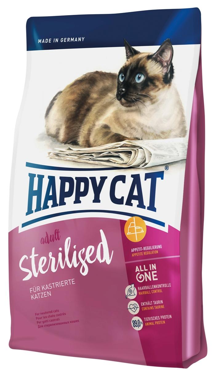 Корм сухой Happy Cat Adult Sterilised для кастрированных и стерилизованных кошек, 1,4 кг0120710Happy Cat Adult Sterilised - это полнорациональный корм для кастрированных котов и стерилизованных кошек. Кастрированные кошки более склоны к ожирению, чем не кастрированные. Это является результатом перестройки обмена веществ, связанной с гормональными изменениями, так как кошки становятся более спокойными. Уменьшение активности и движений, при сохранении хорошего аппетита, приводит к нежелательному результату – ожирение, что в свою очередь увеличивает риск диабета, мочекаменной болезни и рядя других заболеваний. Для предотвращения набора излишнего веса кастрированным кошкам необходим сытный корм с большим содержанием клетчатки и средней жирности, дополненный стимулирующим к движению белком и идеально подобранным перечнем минеральных веществ, для защиты мочеполовой системы. Состав: птица (24%), кукурузная мука, мясопродукты, рисовая мука, клетчатка, кукуруза, птичий жир, лосось (4%), свекольная пульпа, яблочная пульпа (0,8%), хлорид натрия, дрожжи, хлорид калия, сухое цельное яйцо, морские водоросли (0,2%), семя льна (0,2%), Юкка Шидигера (0,04%), корень цикория (0,04%), дрожжи (экстрагированные), расторопша, артишок, одуванчик, имбирь, березовый лист, крапива, ромашка, кориандр, розмарин, шалфей, корень солодки, тимьян (общий объем сухих трав: 0,19%).Аналитический состав: сырой протеин 37%, сырой жир 10,5%, сырая клетчатка 5,0%, сырая зола 6,5%, кальций 1,25%, фосфор 0,8%, натрий 0,45%, калий 0,65%, магний 0,08%, Омега-6 жирные кислоты 1,9%, Омега-3 жирные кислоты 0,2%.Витамин A (3а672а) 18000 МE, витамин D3 1800 МЕ, витамин E (альфа-токоферол 3a700) 100 мг, витамин B1 (тиаминмононитрат 3a821) 5 мг, витамин B2 (рибофлавин) 6 мг, витамин B6 (пиридоксингидрохлорид 3a831) 4 мг, D(+) биотин (3a880) 700 мкг, кальция-D-пантотенат 12 мг, ниацин 45 мг, витамин B12 75 мкг, холинхлорид 75 мг. Антиоксиданты: натуральные экстракты с высоким содержанием токоферола. Микроэлементы/кг: 
