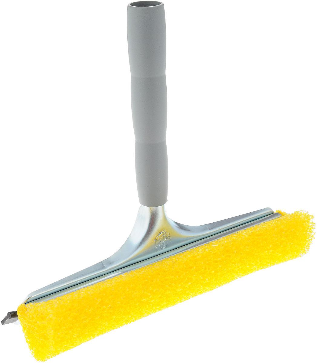 Стеклоочиститель Mosquito, с водосгоном, цвет: желтый, серый, 25 смLT58-81_жёлтыйСтеклоочиститель Mosquito, оснащенный удобной пластиковой ручкой, станет незаменимым помощником при уборке. Он стирает жидкость со стекла, благодаря губке, выполненной из вспененного полиэтилена, а для полного вытирания имеется резиновый водосгон. Длина ручки: 18,5 см. Ширина рабочей поверхности: 25 см.