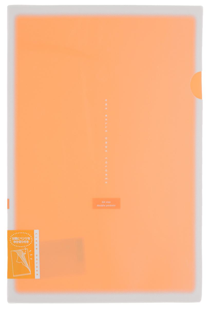 Kokuyo Папка-уголок Coloree цвет оранжевыйFS-36052Папка-уголок Kokuyo Coloree подойдет для хранения документов и тетрадей как для офисного работника, так и для студента или школьника. По форме это обычная папка-уголок формата А4, но она имеет вставки на 2 кармана и вмещает в себя гораздо больше различных документов, чем папка с одним карманом.Папка изготовлена из качественного пластика, поэтому она всегда будет сохранять все ваши документы в чистом и опрятном виде.
