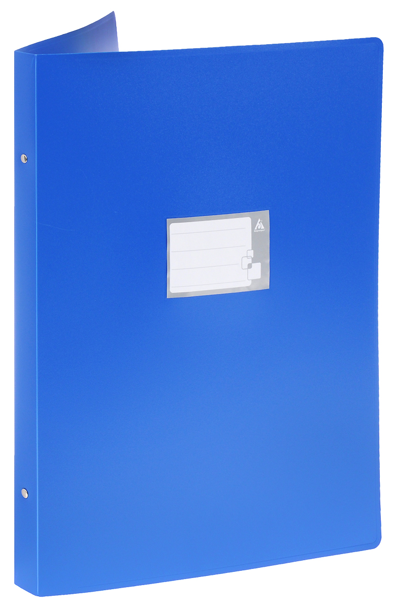 Бюрократ Папка на 4-х кольцах цвет синий816572Надежная папка-уголок Бюрократ станет для вас незаменимым помощником в учебных или офисных делах.Папка-уголок формата А3 изготовлена из износоустойчивого пластика и предназначена для хранения различных документов. Она оснащена 4 металлическими кольцами, которые позволят надежно закрепить все нужные документы. На обложке можно написать информацию о владельце или о ее содержимом. Такая папка всегда будет сохранять ваши документы в опрятном и чистом виде.
