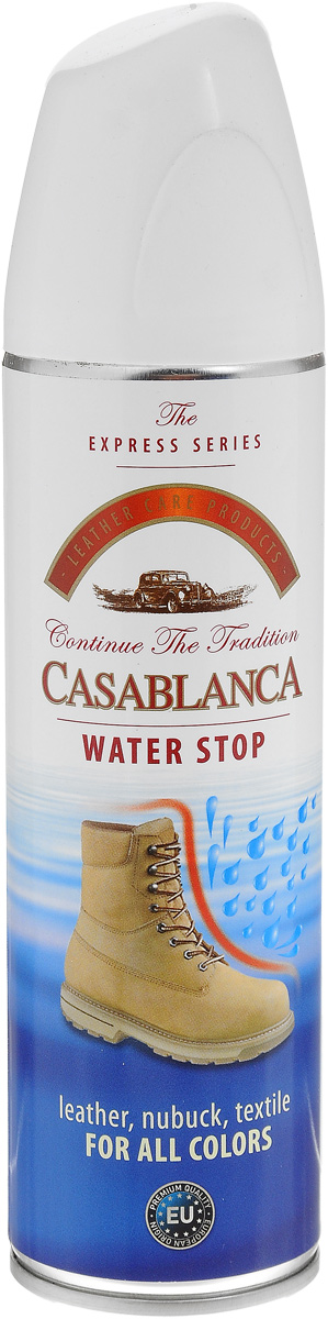 Спрей водоотталкивающий Casablanca 250млMW-3101Защищает от воды, соли и реагентов кожу, брезент, замшу, нубук а так же изделия из других материалов.Очищает, сохраняет сухой и хороший внешний вид обуви. Создает тонкую пленку на изделии, защищающую от воздействия окружающей среды.