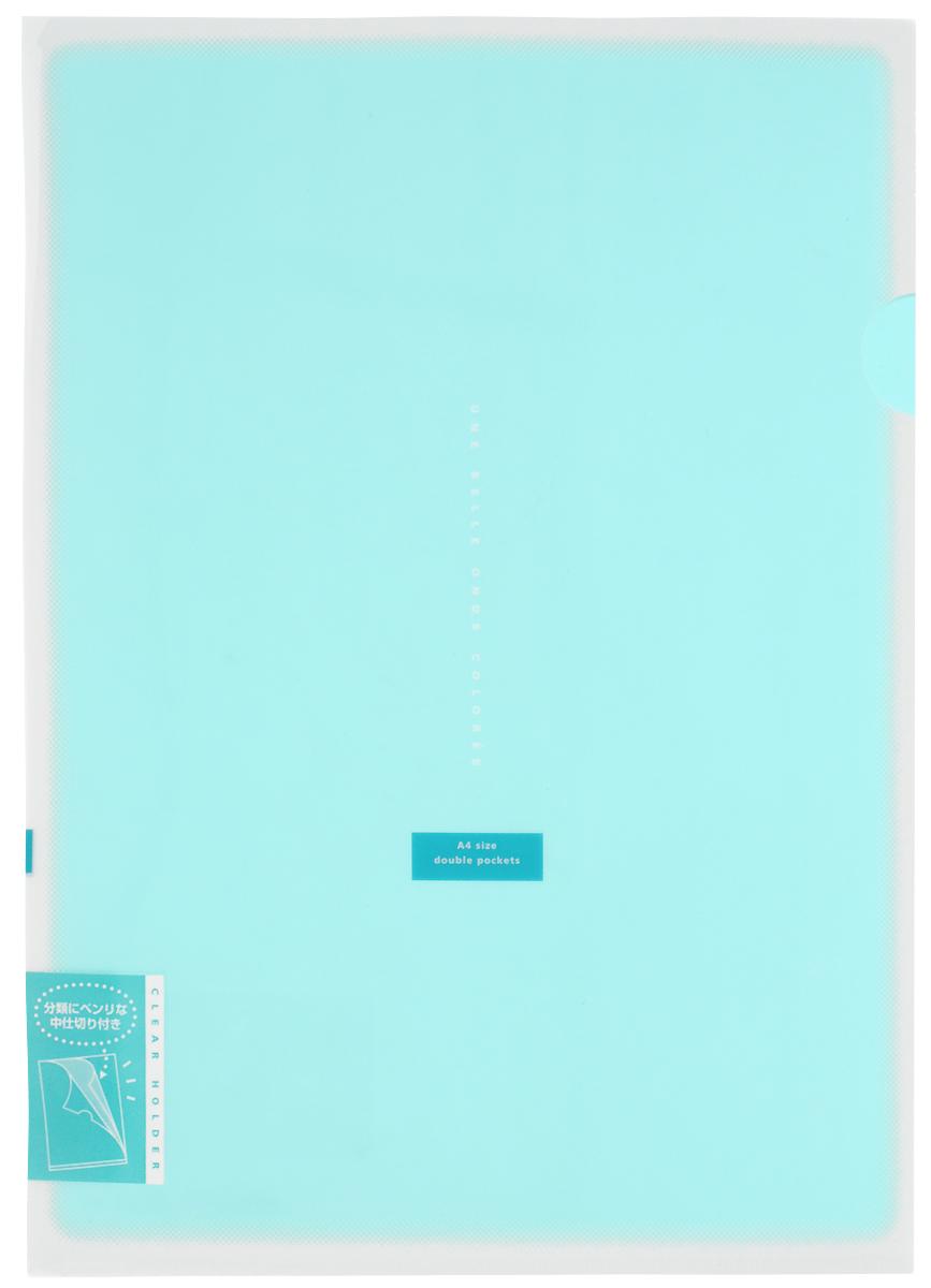 Kokuyo Папка-уголок Coloree цвет бирюзовый87073Папка-уголок Kokuyo Coloree подойдет для хранения документов и тетрадей как для офисного работника, так и для студента или школьника. По форме это обычная папка-уголок формата А4, но она имеет вставки на 2 кармана и вмещает в себя гораздо больше различных документов, чем папка с одним карманом.Папка изготовлена из качественного пластика, поэтому она всегда будет сохранять все ваши документы в чистом и опрятном виде.