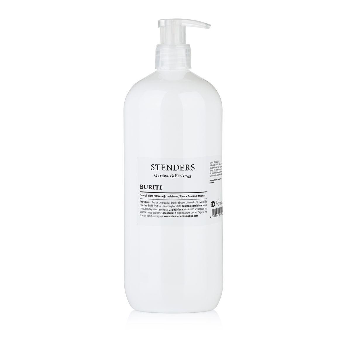 Stenders Массажное масло Бурити 1 лFS-00897Смесь масла бурити и масла сладкого миндаля. Масло бурити является источником бета-каротина, который замедляет старение кожи, поскольку образует на ней натуральный защитный слой, защищающий кожу от пересушивания, вредного воздействия УФ-улей и свободных радикалов. Масло обладает сочным оранжевым цветом и придает коже тон здорового загара.