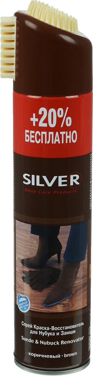 Краска-восстановитель Silver, для нубука и замши, цвет: коричневый, 300 млHS.050005Спрей краска-восстановитель Silver для нубука и замши защищает, восстанавливает потертые места, обеспечивает стойкое и равномерное окрашивание. Обладает водоотталкивающими свойствами. Для очистки обуви на крышке флакона предусмотрена специальная щетка. Товар сертифицирован.