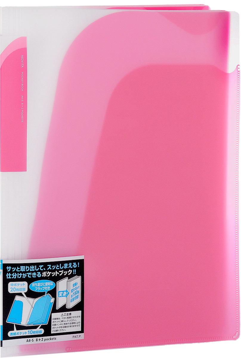Kokuyo Папка-уголок Novita на 180 листов цвет розовыйFS-36052Папка-уголок Kokuyo Novita предназначена для хранения документов и тетрадей. Она подойдет как для офисного работника, так и для студента или школьника.По форме это обычная папка-уголок формата А4, но ее преимущество заключается в том, что она имеет 8 дополнительных отделений, в каждое из которых помещается около 20 листов. На внутренней стороне обложки в начале и конце расположены небольшие карманы для мелких бумаг. Общая вместимость составляет около 180 листов самых различных документов.Папка изготовлена из качественного пластика. При транспортировке или хранении ваши документы всегда будут находиться в целости и сохранности.