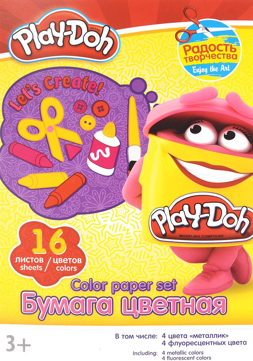 Play-Doh Набор цветной бумаги 16 листов 16цветов72523WDНабор цветной бумаги Play-Doh формата А4 идеально подходит для детского творчества: создания аппликаций, оригами и многого другого.В упаковке 16 листов бумаги 16 цветов: золотистый, серебристый, желтый, красный, пурпурный, зелёный, голубой, фиолетовый, коричневый, черный, розовый металл, голубой металл, лимонный флюор, салатовый флюор, оранжевый флюор, розовый флюор. На обороте набора расположена игра на внимание Найди 2 одинаковых Додошки.Детские аппликации из цветной бумаги - отличное занятие для развития творческих способностей и познавательной деятельности малыша, а также хороший способ самовыражения ребенка.Рекомендуемый возраст: от 3 лет.