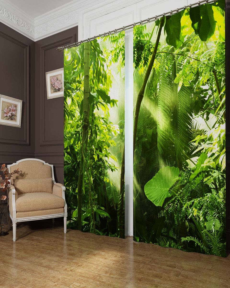 Комплект фотоштор Сирень Тропичесикй лес, на ленте, высота 260 см. 00029-ФШ-БЛ-0011004900000360Фотошторы Сирень Тропический лес, выполненные из блэкаута, отлично дополнят украшение любого интерьера. Блэкаут - это трехслойная светонепроницаемая ткань - 100% полиэстер, по структуре напоминает плотный хлопок, очень мягкий,с небольшим сероватым оттенком из-за черной нити, входящей в состав ткани. Блэкаут не требует особого ухода, хорошо драпируется. Пропускает солнечные лучи не более 5%. Крепление на карниз при помощи шторной ленты на крючки. В комплекте 2 шторы. Ширина одного полотна: 145 см.Высота штор: 260 см.Рекомендации по уходу: стирка при 30 градусах, гладить при температуре до 110 градусов.Изображение на мониторе может немного отличаться от реального.