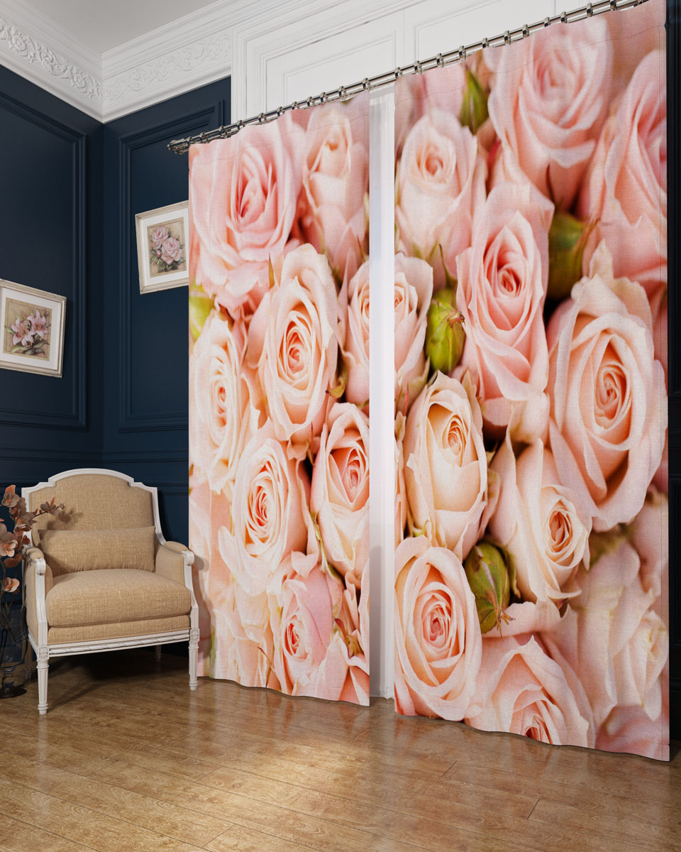 Комплект фотоштор Сирень Молодые розы, на ленте, высота 260 смKGB GX-3Фотошторы Сирень Молодые розы, выполненные из блэкаута, отлично дополнят украшение любого интерьера. Блэкаут - это трехслойная светонепроницаемая ткань - 100% полиэстер, по структуре напоминает плотный хлопок, очень мягкий,с небольшим сероватым оттенком из-за черной нити, входящей в состав ткани. Блэкаут не требует особого ухода, хорошо драпируется. Пропускает солнечные лучи не более 5%. Крепление на карниз при помощи шторной ленты на крючки. В комплекте 2 шторы. Ширина одного полотна: 145 см.Высота штор: 260 см.Рекомендации по уходу: стирка при 30 градусах, гладить при температуре до 110 градусов.Изображение на мониторе может немного отличаться от реального.