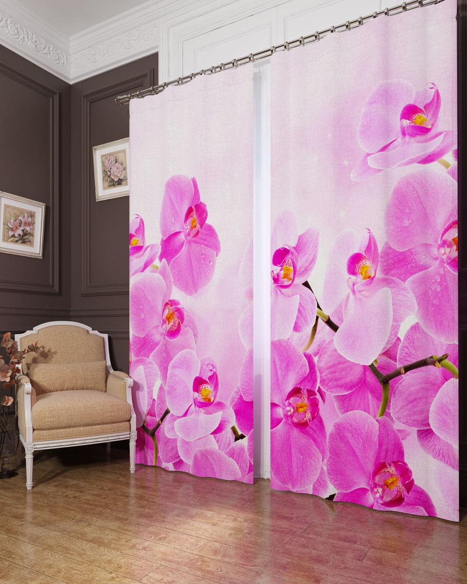 Комплект фотоштор Сирень Сиреневая орхидея, на ленте, высота 260 см. 02404-ФШ-БЛ-00103573-ФШ-БЛ-001Фотошторы Сирень Сиреневая орхидея, выполненные из блэкаута, отлично дополнят украшение любого интерьера. Блэкаут - это трехслойная светонепроницаемая ткань - 100% полиэстер, по структуре напоминает плотный хлопок, очень мягкий,с небольшим сероватым оттенком из-за черной нити, входящей в состав ткани. Блэкаут не требует особого ухода, хорошо драпируется. Пропускает солнечные лучи не более 5%. Крепление на карниз при помощи шторной ленты на крючки. В комплекте 2 шторы. Ширина одного полотна: 145 см.Высота штор: 260 см.Рекомендации по уходу: стирка при 30 градусах, гладить при температуре до 110 градусов.Изображение на мониторе может немного отличаться от реального.