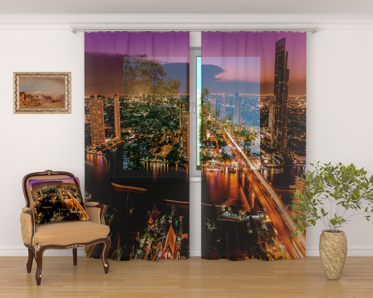Комплект фототюлей Сирень Деловой район Бангкока, на ленте, высота 260 см1004900000360Фототюль Сирень Деловой район Бангкока из легкой парящей ткани - вуали - благодаря своей прозрачности позволяет создать в комнате уютную атмосферу, отлично дополняет украшение любого окна. Ткань хорошо держит форму, не требует специального ухода. Яркая и чёткая картинка будет радовать вас каждый день.Крепление на карниз при помощи шторной ленты на крючки.В комплекте: 2 тюля.Ширина полотна: 145 см.Высота полотна: 260 см. Рекомендации по уходу: стирка при 30 градусах, гладить при температуре до 110 градусов.Изображение на мониторе может немного отличаться от реального.