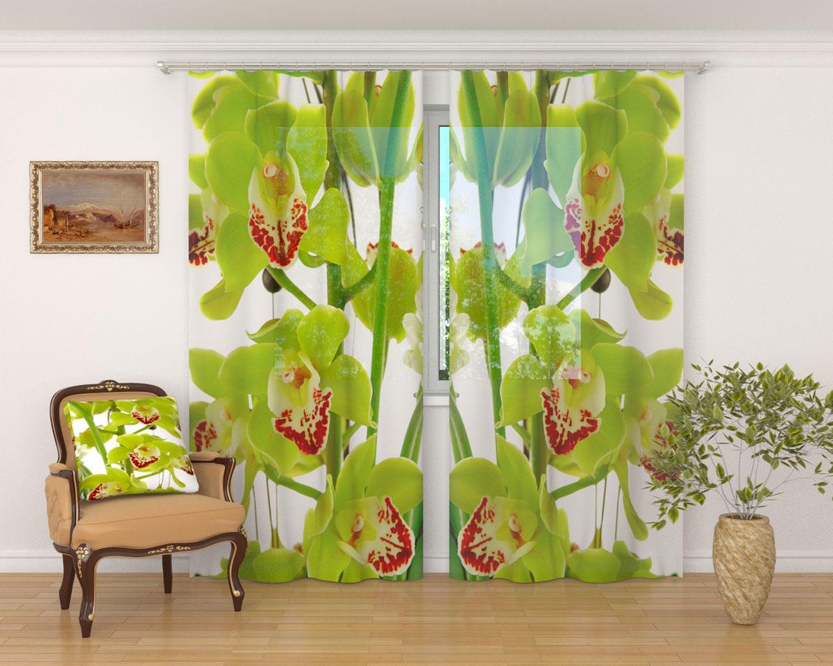 Комплект фототюлей Сирень Зеленая орхидея, на ленте, высота 260 смZ-0307Фототюль Сирень Зеленая орхидея из легкой парящей ткани - вуали - благодаря своей прозрачности позволяет создать в комнате уютную атмосферу, отлично дополняет украшение любого окна. Ткань хорошо держит форму, не требует специального ухода. Яркая и чёткая картинка будет радовать вас каждый день.Крепление на карниз при помощи шторной ленты на крючки.В комплекте: 2 тюля.Ширина полотна: 145 см.Высота полотна: 260 см. Рекомендации по уходу: стирка при 30 градусах, гладить при температуре до 110 градусов.Изображение на мониторе может немного отличаться от реального.