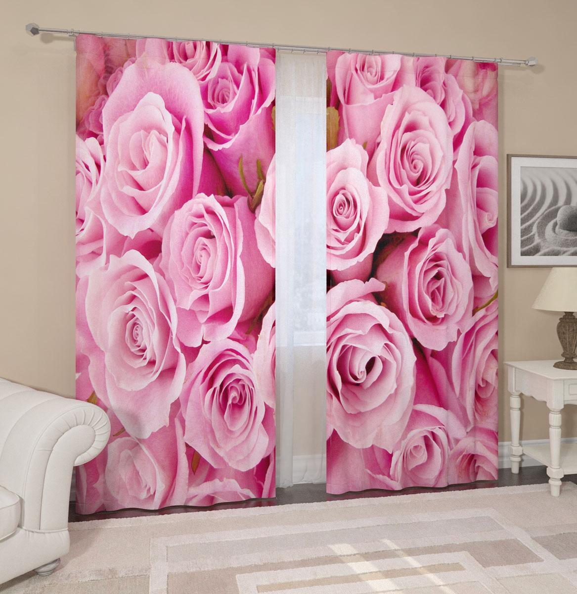 Комплект фотоштор Сирень Розовые розы, на ленте, высота 260 смES-412Фотошторы Сирень Розовые розы, выполненные из габардина (100% полиэстера), отлично дополнят украшение любого интерьера. Особенностью ткани габардин является небольшая плотность, из-за чего ткань хорошо пропускает воздух и солнечный свет. Ткань хорошо держит форму, не требует специального ухода. Крепление на карниз при помощи шторной ленты на крючки. В комплекте 2 шторы. Ширина одного полотна: 145 см.Высота штор: 260 см.Рекомендации по уходу: стирка при 30 градусах, гладить при температуре до 110 градусов.Изображение на мониторе может немного отличаться от реального.