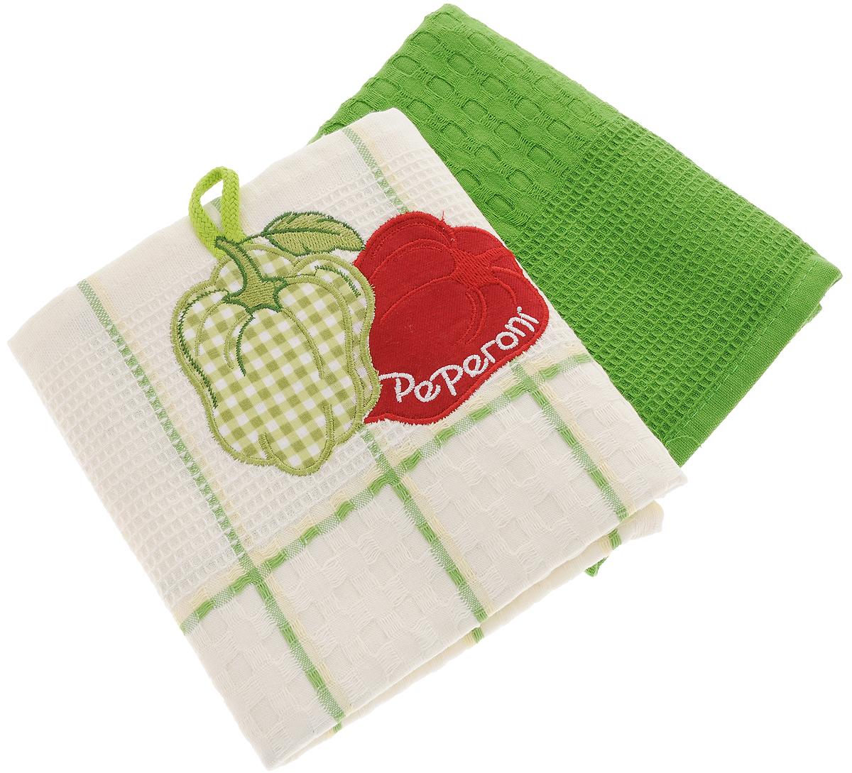 Набор кухонных полотенец Bonita Перец, цвет: зеленый, белый, 45 х 70 см, 2 штVT-1520(SR)Набор кухонных полотенец Bonita Перец состоит из двух полотенец, изготовленный из натурального хлопка, идеально дополнит интерьер вашей кухни и создаст атмосферу уюта и комфорта. Одно полотенце белого цвета в зеленую клетку оформлено вышивкой в виде двух перцев и оснащено петелькой. Другое полотенце однотонное зеленого цвета без вышивки. Изделия выполнены из натурального материала, поэтому являются экологически чистыми. Высочайшее качество материала гарантирует безопасность не только взрослых, но и самых маленьких членов семьи. Современный декоративный текстиль для дома должен быть экологически чистым продуктом и отличаться ярким и современным дизайном.