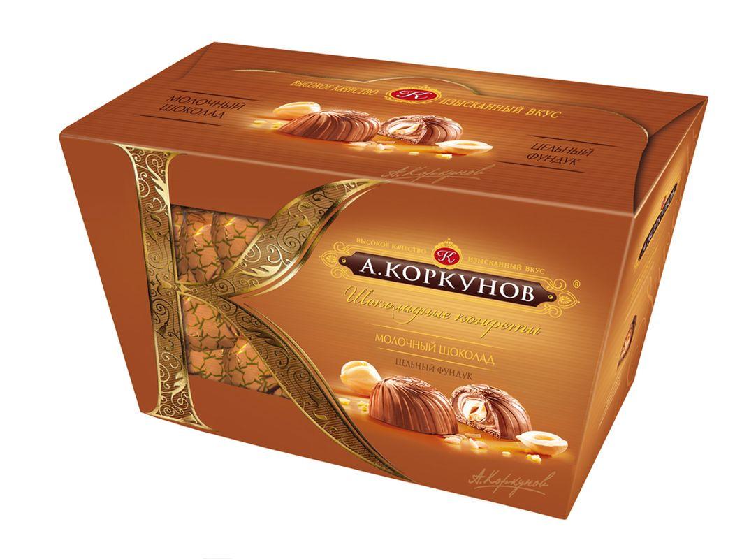 Коркунов Конфеты молочный шоколад с цельным орехом, 135 г79001091При производстве конфет КОРКУНОВ используются сертифицированные сорта какао-бобов, произрастающие в Западной Африке. Ореховая начинка конфет – это настоящее, классическое пралине - сочетание сахара и орехов. Также для производства конфет КОРКУНОВ закупаются только отборные орехи, а каждый из поставщиков проходит строгую проверку качества. Элегантная упаковка подчеркивает вкус изысканных шоколадных конфет. Все это делает конфеты КОРКУНОВ одним из самых желанных подарков на любой праздник.