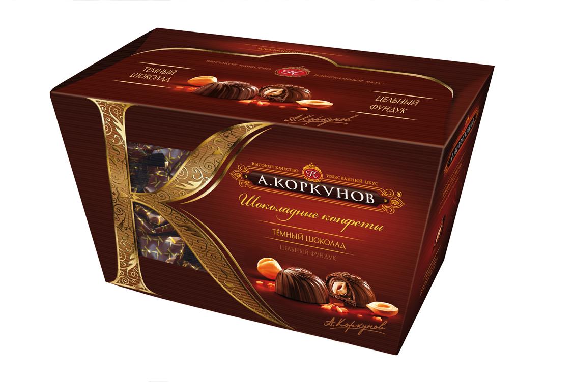 Коркунов Конфеты темный шоколад с цельным орехом, 135 г0120710При производстве конфет КОРКУНОВ используются сертифицированные сорта какао-бобов, произрастающие в Западной Африке. Ореховая начинка конфет – это настоящее, классическое пралине - сочетание сахара и орехов. Также для производства конфет КОРКУНОВ закупаются только отборные орехи, а каждый из поставщиков проходит строгую проверку качества. Элегантная упаковка подчеркивает вкус изысканных шоколадных конфет. Все это делает конфеты КОРКУНОВ одним из самых желанных подарков на любой праздник.