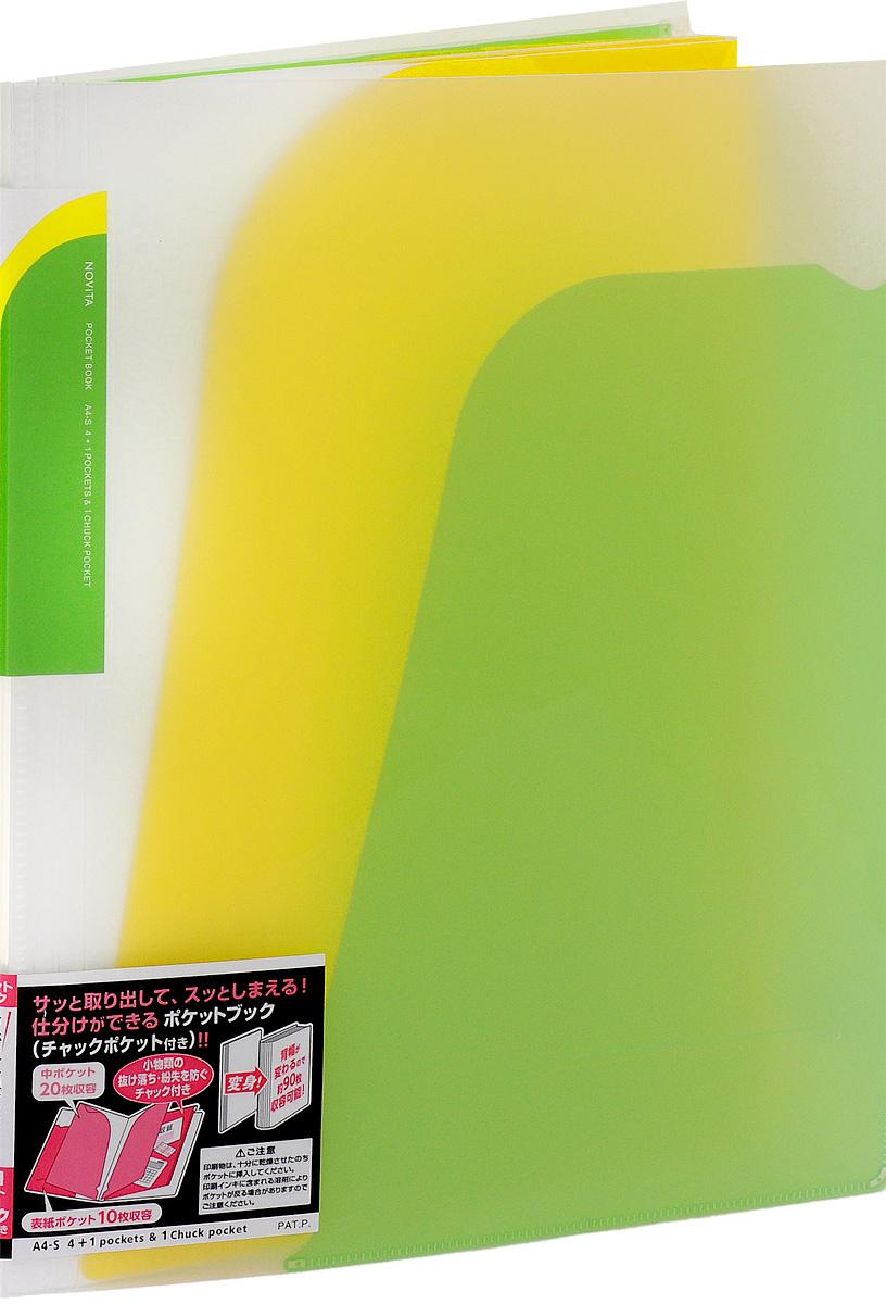Kokuyo Папка-уголок Novita на 90 листов цвет светло-зеленый84Папка-уголок Kokuyo Novita предназначена для хранения документов и тетрадей. Она подойдет как для офисного работника, так и для студента или школьника.По форме это обычная папка-уголок формата А4, но ее преимущество заключается в том, что она имеет 4 дополнительных отделения, в каждое из которых помещается около 20 листов. В конце папки есть отделение, которое закрывается на пластиковую молнию. На внутренней стороне обложки расположен небольшой карман для мелких бумаг. Общая вместимость составляет около 90 листов самых различных документов.Папка изготовлена из качественного пластика. При транспортировке или хранении ваши документы всегда будут находиться в целости и сохранности.