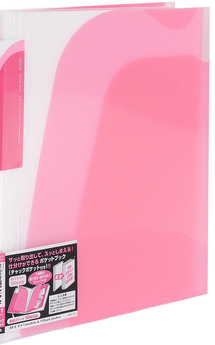 Kokuyo Папка-уголок Novita на 90 листов цвет розовый86832Папка-уголок Kokuyo Novita предназначена для хранения документов и тетрадей. Она подойдет как для офисного работника, так и для студента или школьника.По форме это обычная папка-уголок формата А4, но ее преимущество заключается в том, что она имеет 4 дополнительных отделения, в каждое из которых помещается около 20 листов. В конце папки есть отделение, которое закрывается на пластиковую молнию. На внутренней стороне обложки расположен небольшой карман для мелких бумаг. Общая вместимость составляет около 90 листов самых различных документов.Папка изготовлена из качественного пластика. При транспортировке или хранении ваши документы всегда будут находиться в целости и сохранности.