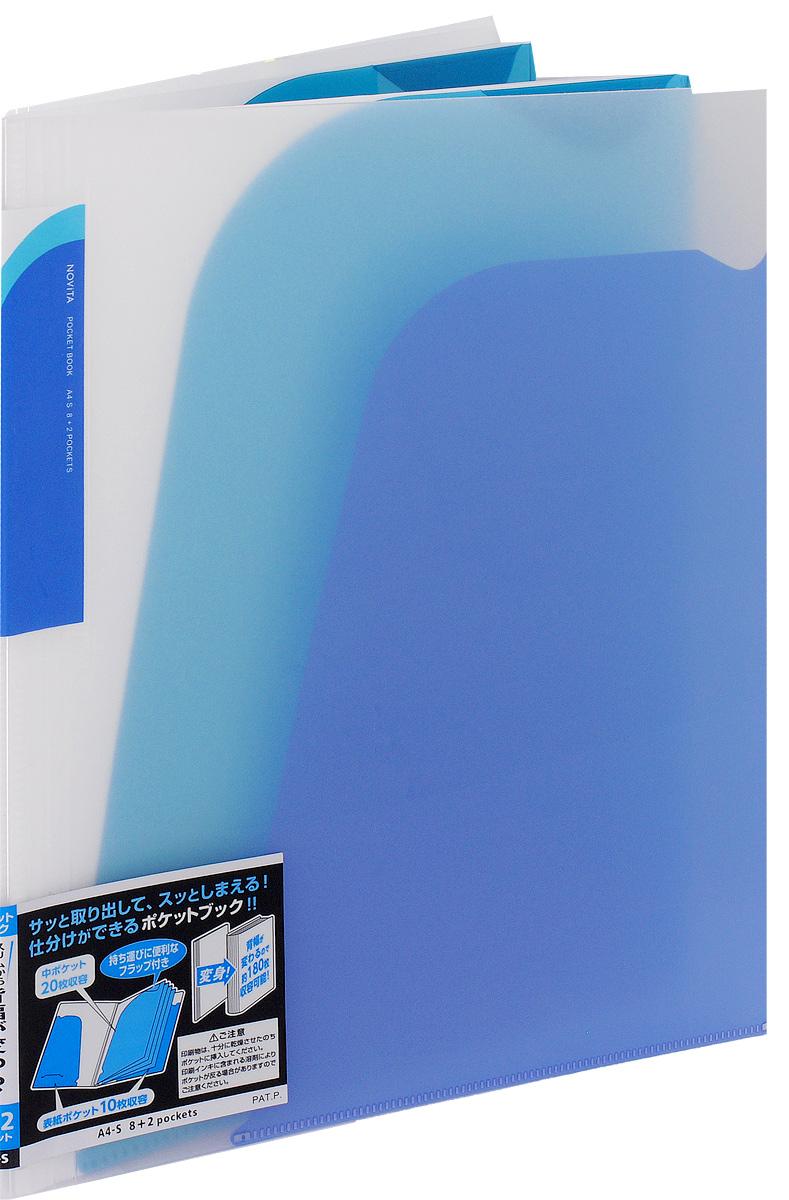 Kokuyo Папка-уголок Novita на 180 листов цвет синийFS-00261Папка-уголок Kokuyo Novita предназначена для хранения документов и тетрадей. Она подойдет как для офисного работника, так и для студента или школьника.По форме это обычная папка-уголок формата А4, но ее преимущество заключается в том, что она имеет 8 дополнительных отделений, в каждое из которых помещается около 20 листов. На внутренней стороне обложки в начале и конце расположены небольшие карманы для мелких бумаг. Общая вместимость составляет около 180 листов самых различных документов.Папка изготовлена из качественного пластика. При транспортировке или хранении ваши документы всегда будут находиться в целости и сохранности.