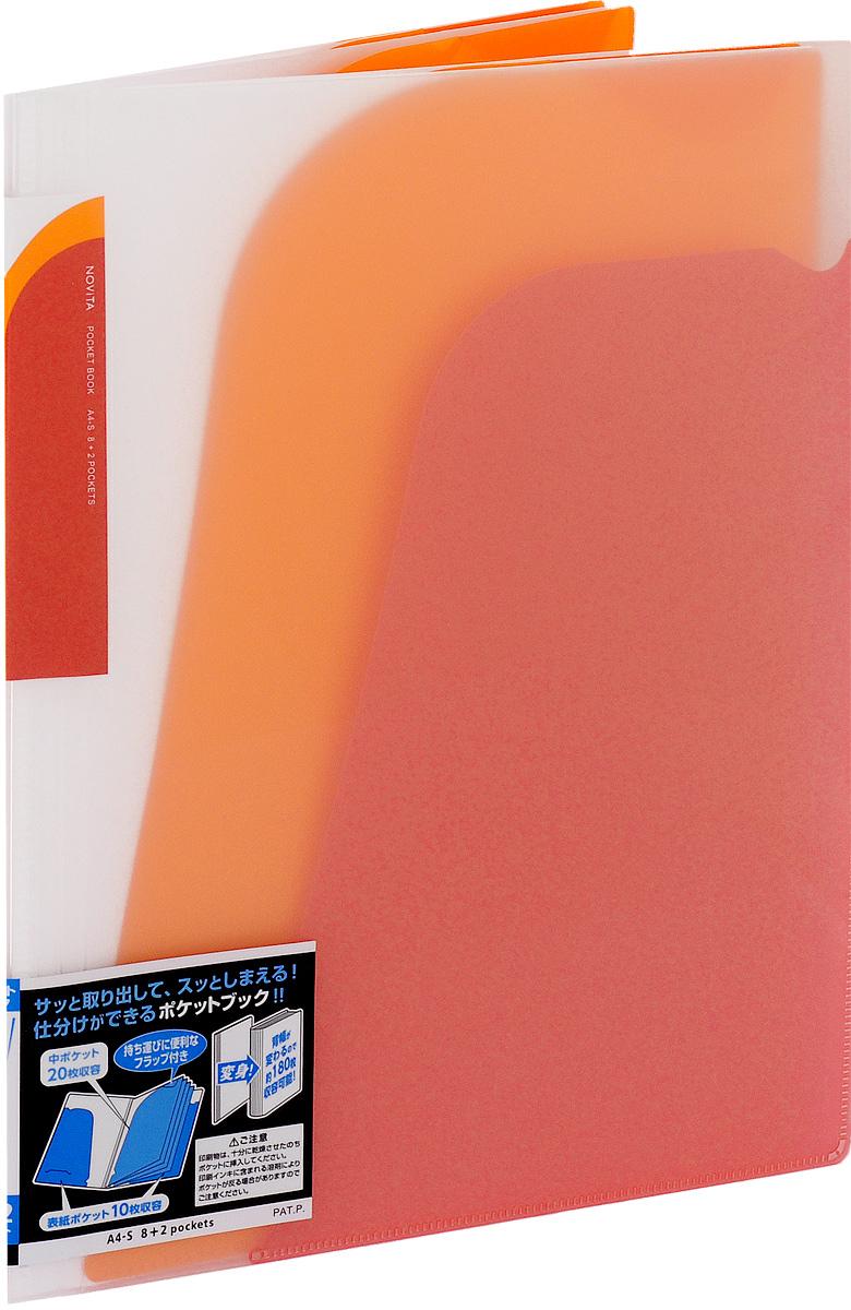 Kokuyo Папка-уголок Novita на 180 листов цвет красныйPP-220Папка-уголок Kokuyo Novita предназначена для хранения документов и тетрадей. Она подойдет как для офисного работника, так и для студента или школьника.По форме это обычная папка-уголок формата А4, но ее преимущество заключается в том, что она имеет 8 дополнительных отделений, в каждое из которых помещается около 20 листов. На внутренней стороне обложки в начале и конце расположены небольшие карманы для мелких бумаг. Общая вместимость составляет около 180 листов самых различных документов.Папка изготовлена из качественного пластика. При транспортировке или хранении ваши документы всегда будут находиться в целости и сохранности.