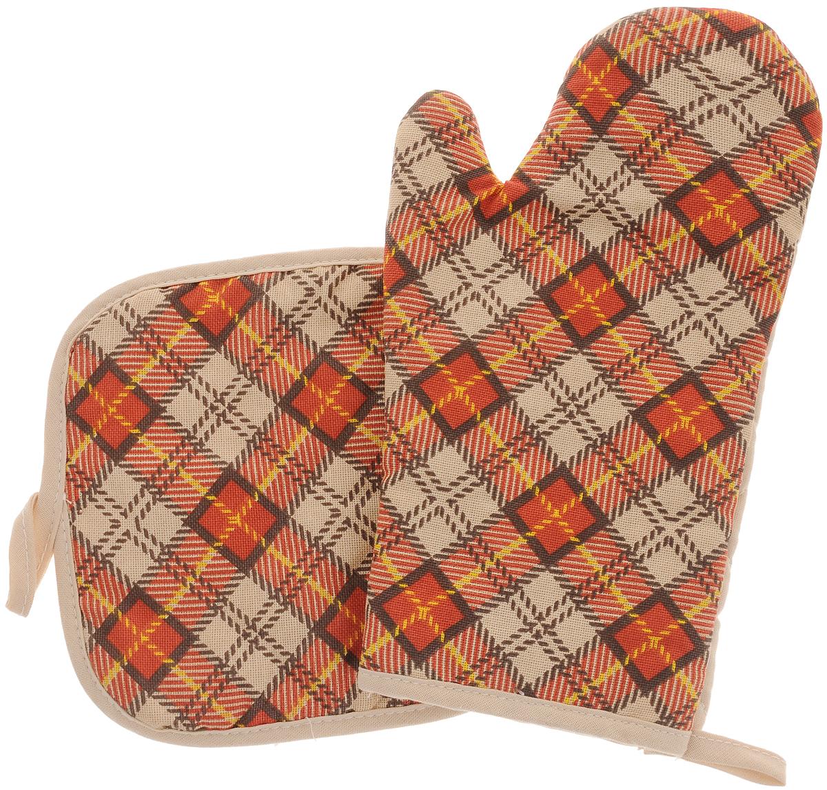Набор прихваток Bonita Принц Уэльский, 2 предметаVT-1520(SR)Набор Bonita Принц Уэльский состоит из прихватки-рукавицы и квадратной прихватки. Изделия выполнены из натурального хлопка и декорированы оригинальным рисунком. Прихватки простеганы, а края окантованы. Оснащены специальными петельками, за которые их можно подвесить на крючок в любом удобном для вас месте. Такой набор красиво дополнит интерьер кухни. Размер прихватки-рукавицы: 16 х 28 см.Размер прихватки: 17 х 17 см.