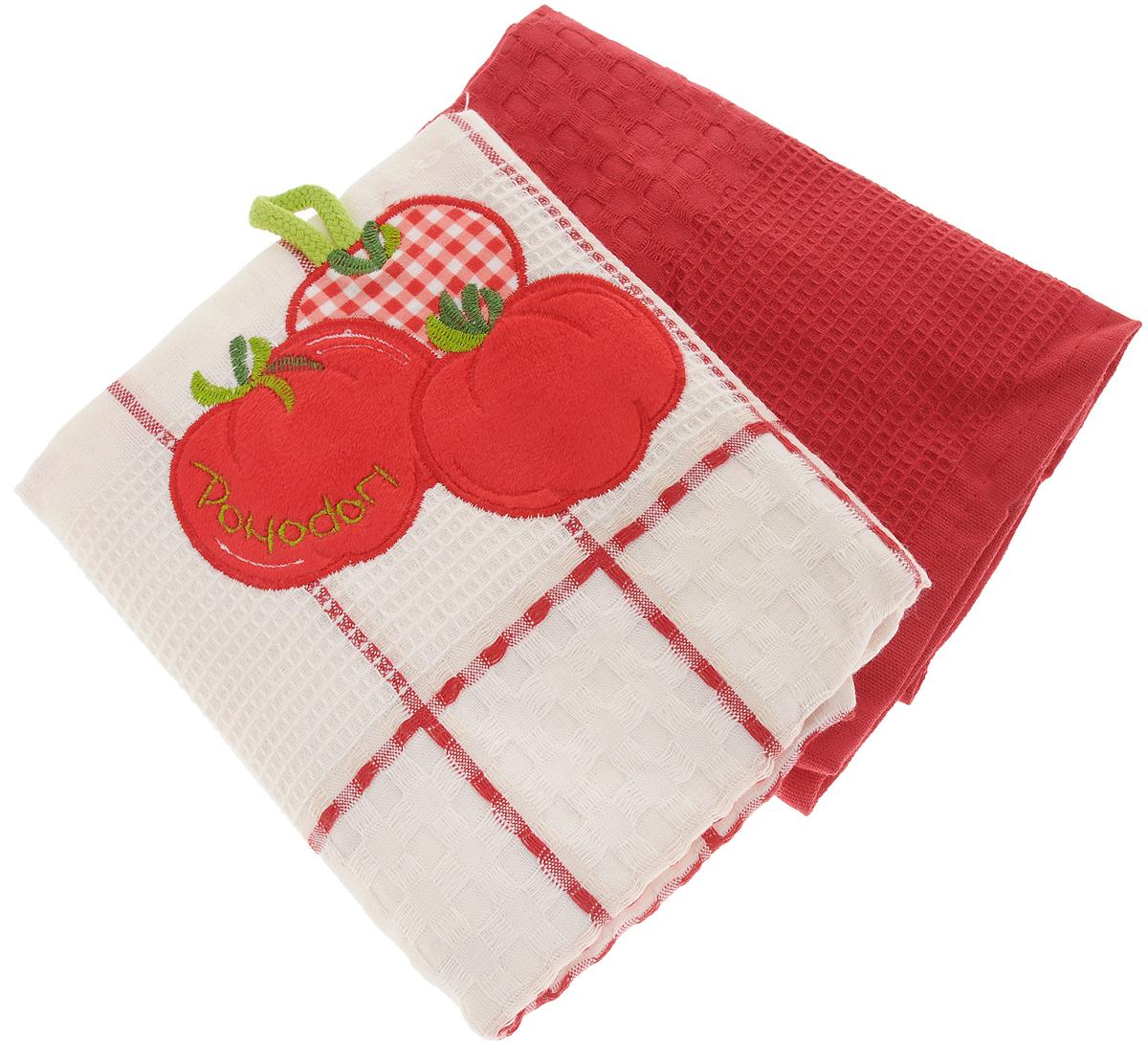 Набор кухонных полотенец Bonita Помидор, цвет: красный, белый, 45 х 70 см, 2 штCLP446Набор кухонных полотенец Bonita Помидор состоит из двух полотенец, изготовленный из натурального хлопка, идеально дополнит интерьер вашей кухни и создаст атмосферу уюта и комфорта. Одно полотенце белого цвета в красную клетку оформлено вышивкой и оснащено петелькой. Другое полотенце однотонное красного цвета без вышивки. Изделия выполнены из натурального материала, поэтому являются экологически чистыми. Высочайшее качество материала гарантирует безопасность не только взрослых, но и самых маленьких членов семьи. Современный декоративный текстиль для дома должен быть экологически чистым продуктом и отличаться ярким и современным дизайном.